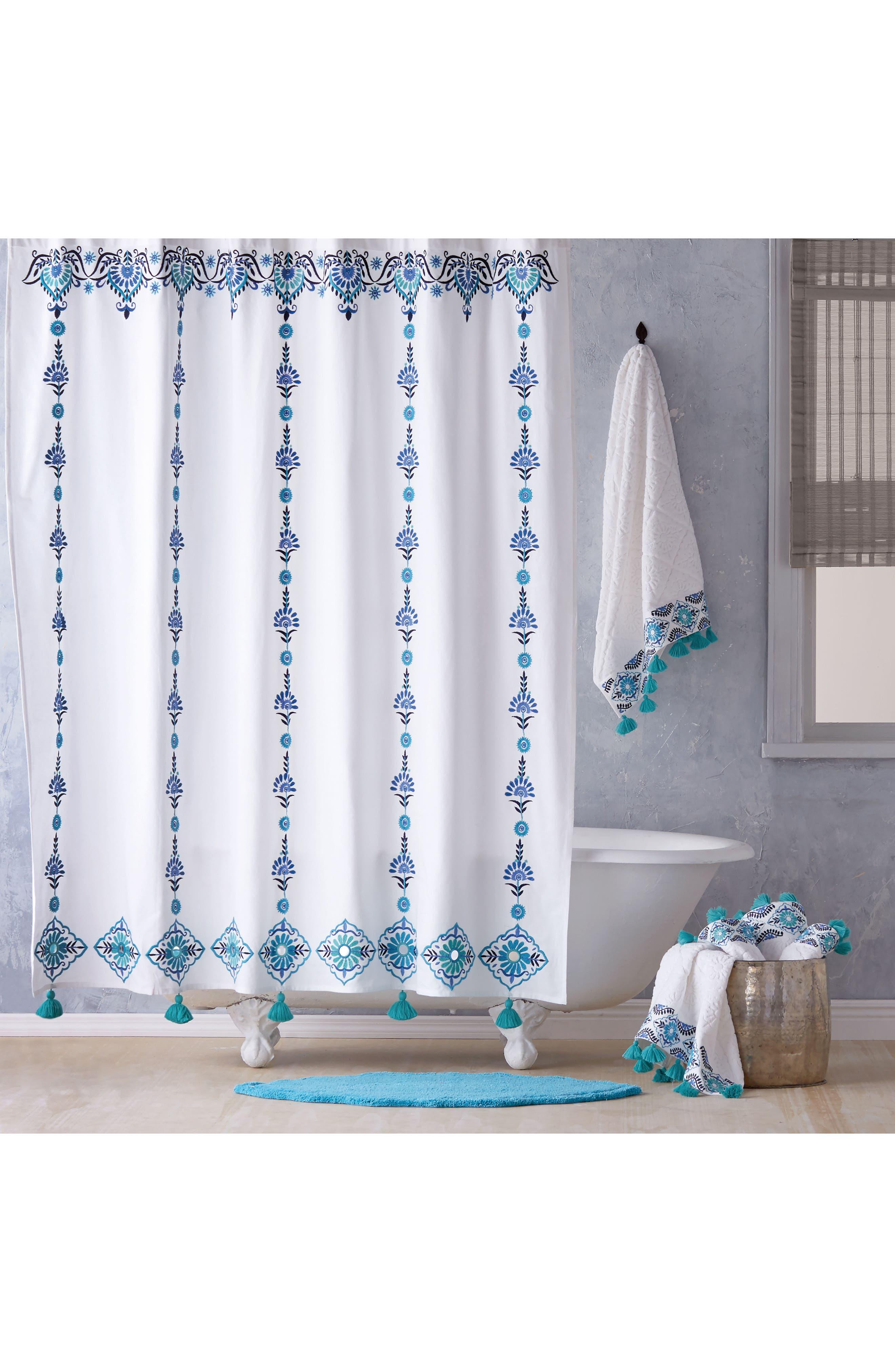 Aloka Shower Curtain,                             Main thumbnail 1, color,                             Blue