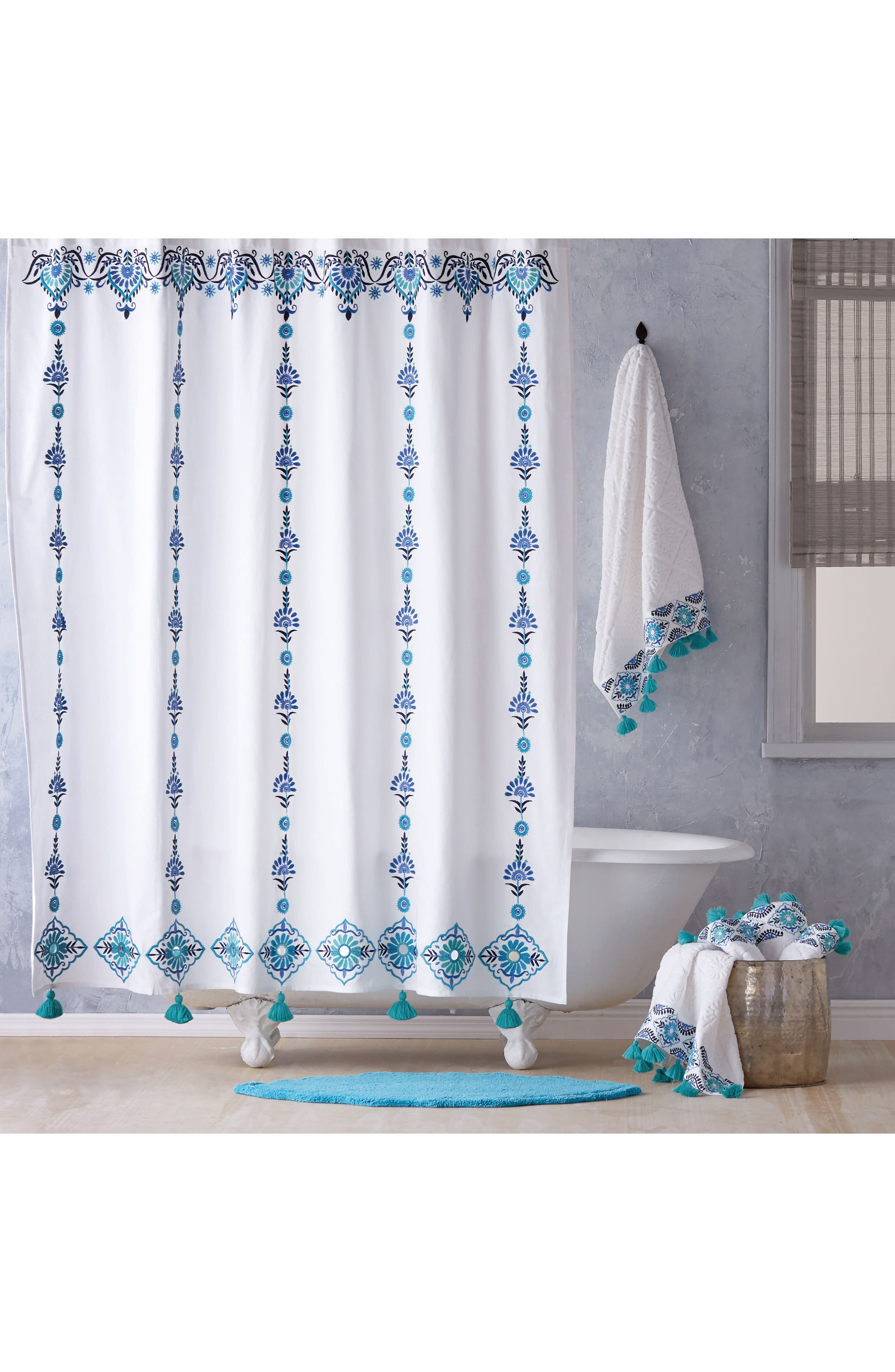 Aloka Shower Curtain,                         Main,                         color, Blue