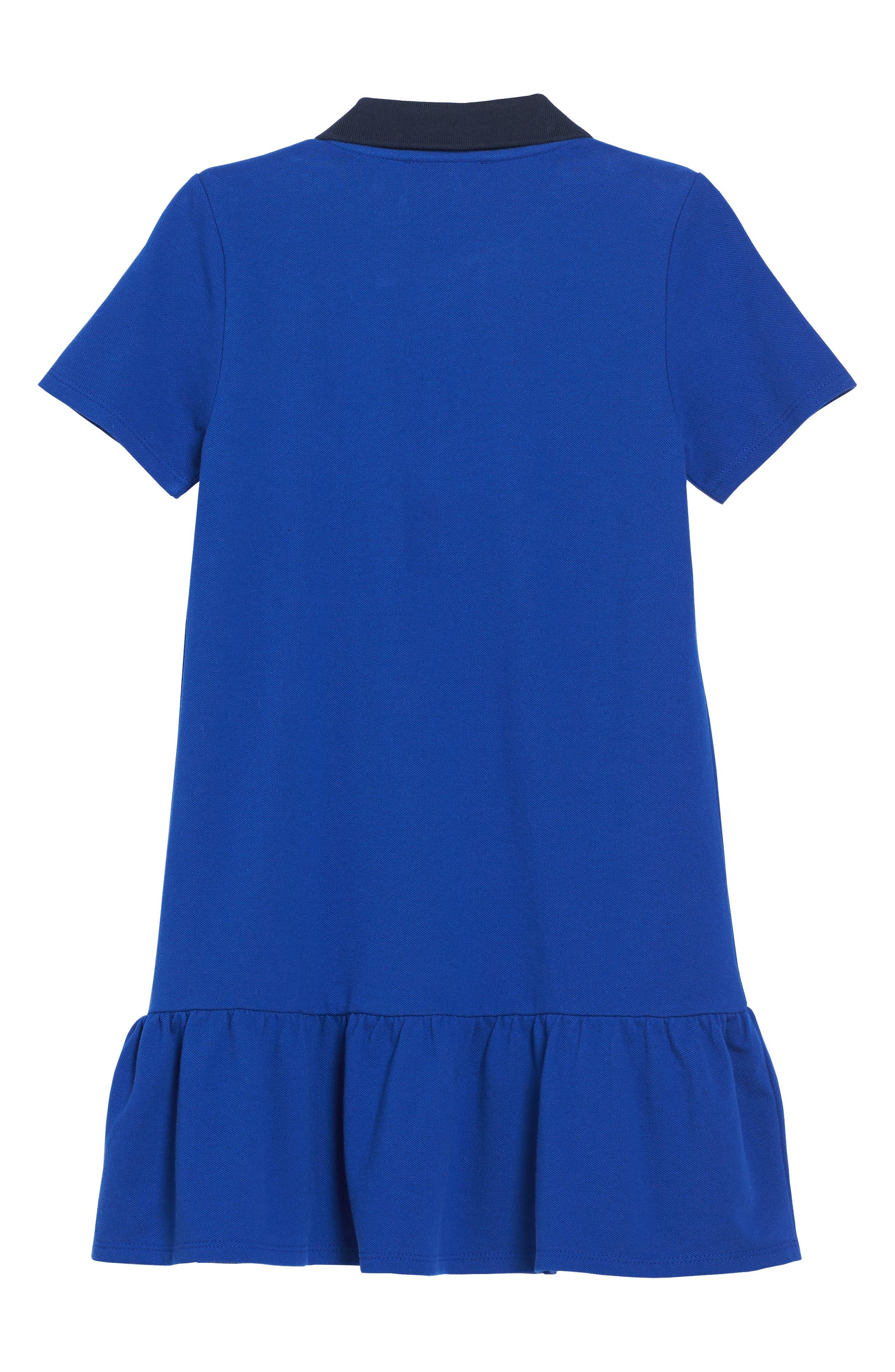 Piqué Polo Dress,                             Alternate thumbnail 2, color,                             Blue Night