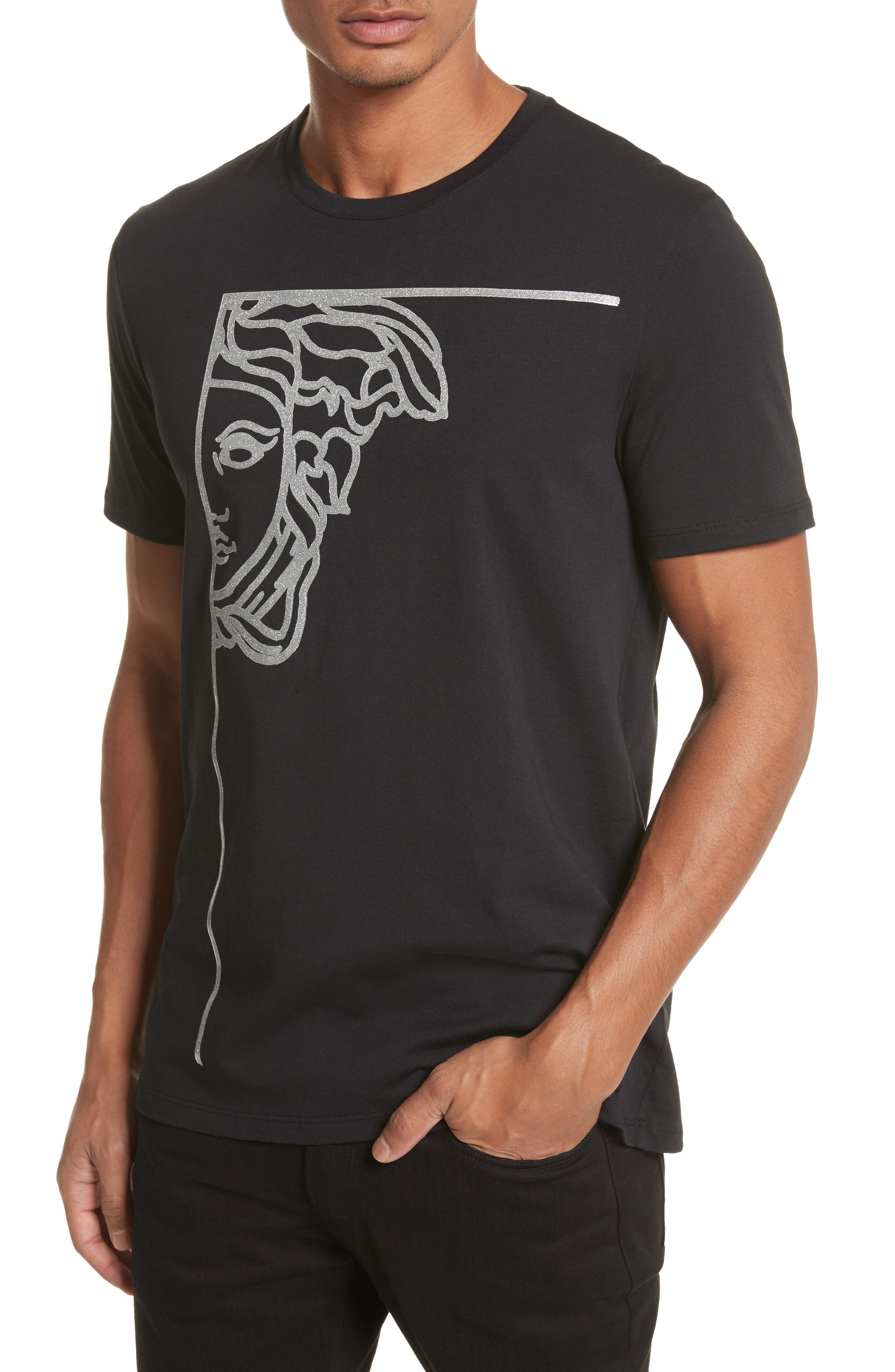 Alternate Image 4  - Versace Collection Glitter Stamp Medusa Graphic T-Shirt