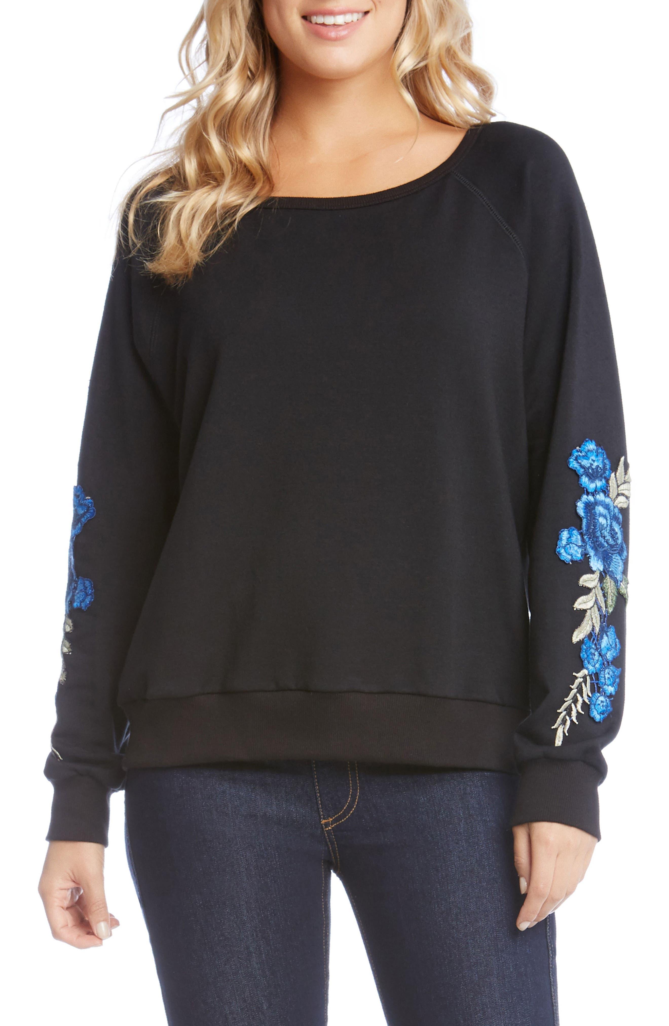 Main Image - Karen Kane Appliqué Sleeve Sweatshirt