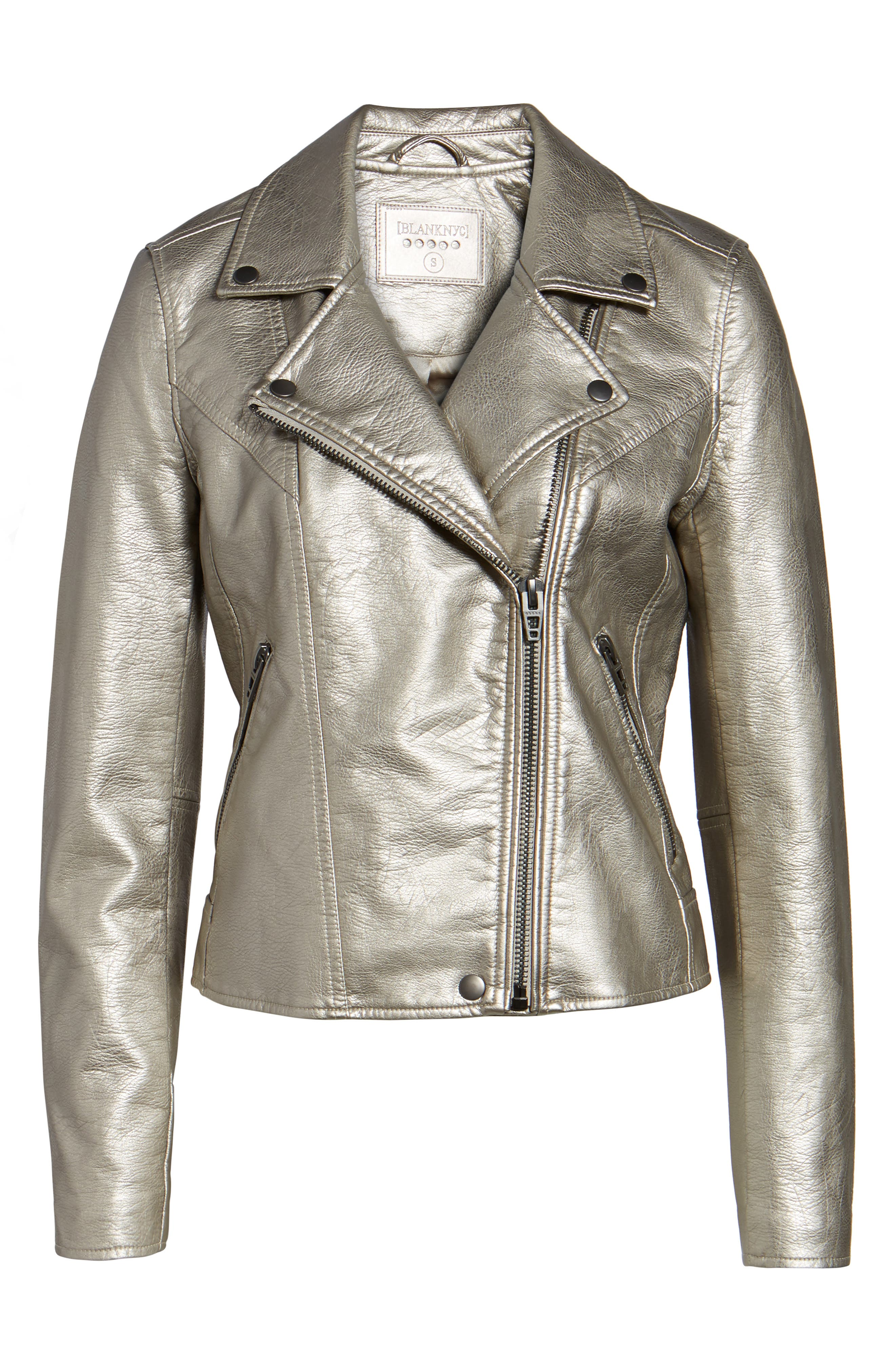 Life Changer Moto Jacket,                             Alternate thumbnail 6, color,                             Silver Mine