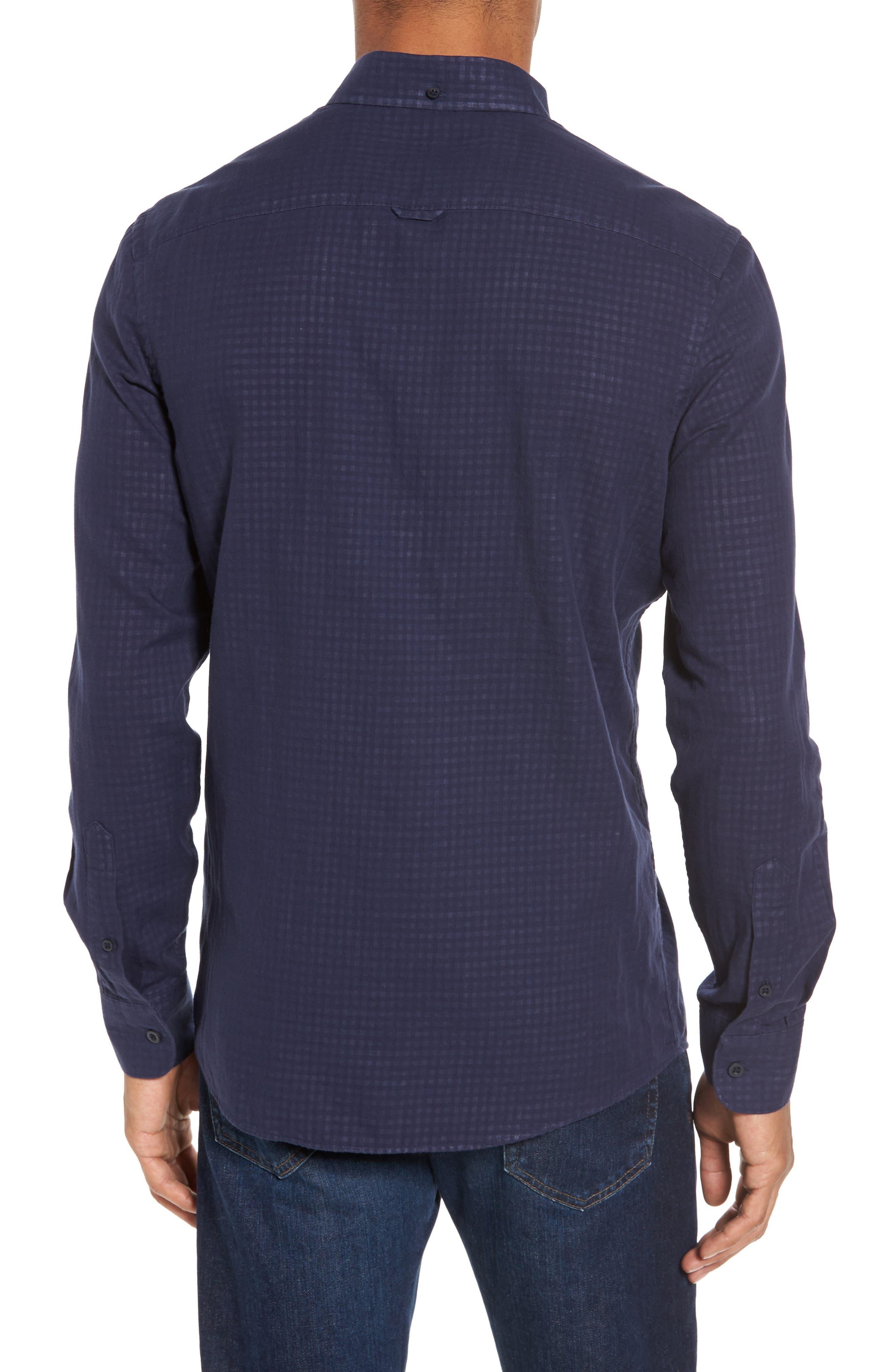 Trim Fit Duofold Sport Shirt,                             Alternate thumbnail 2, color,                             Navy Iris Gingham Duofold