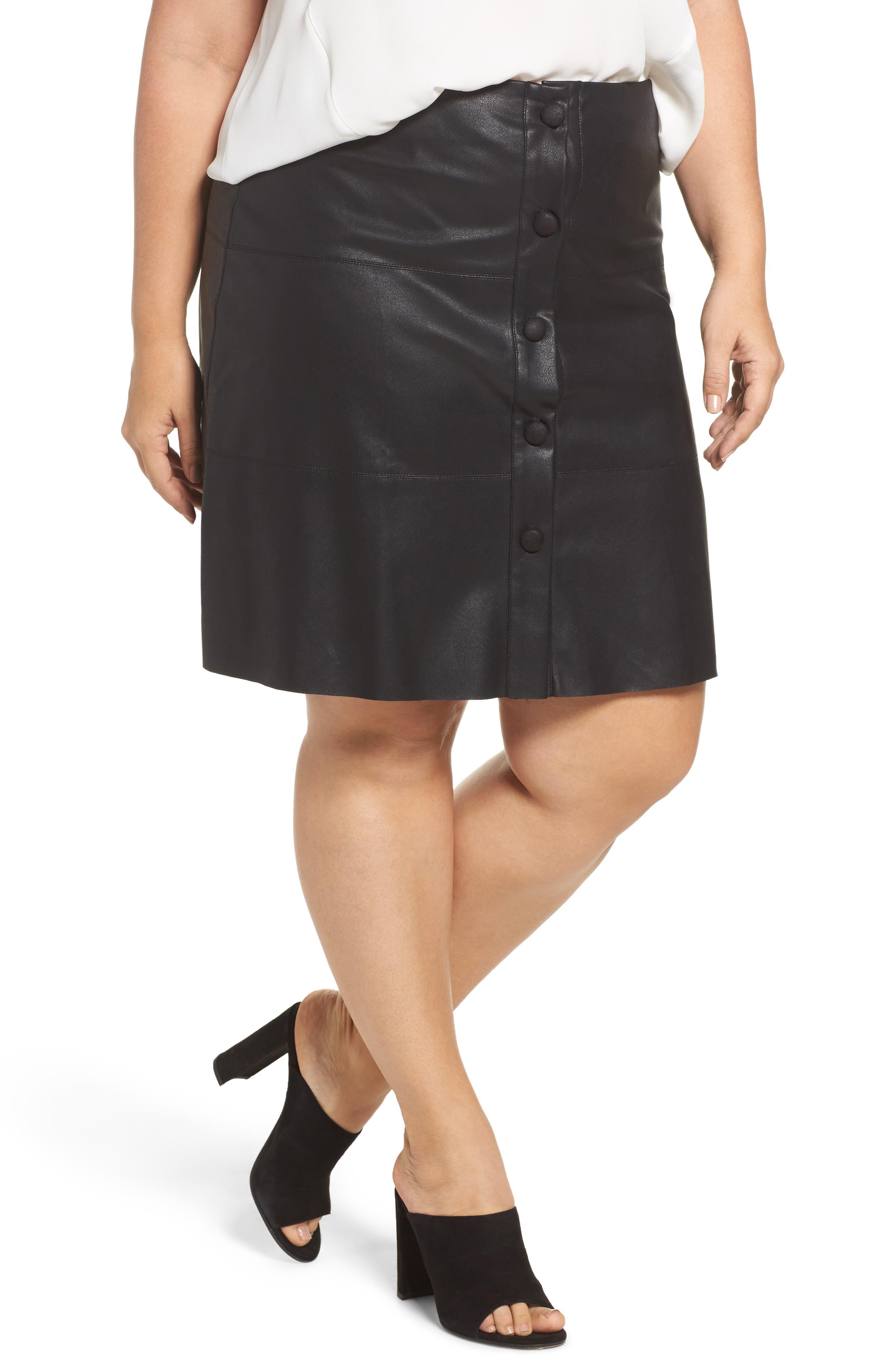 ELVI Button Front Faux Leather Skirt (Plus Size)