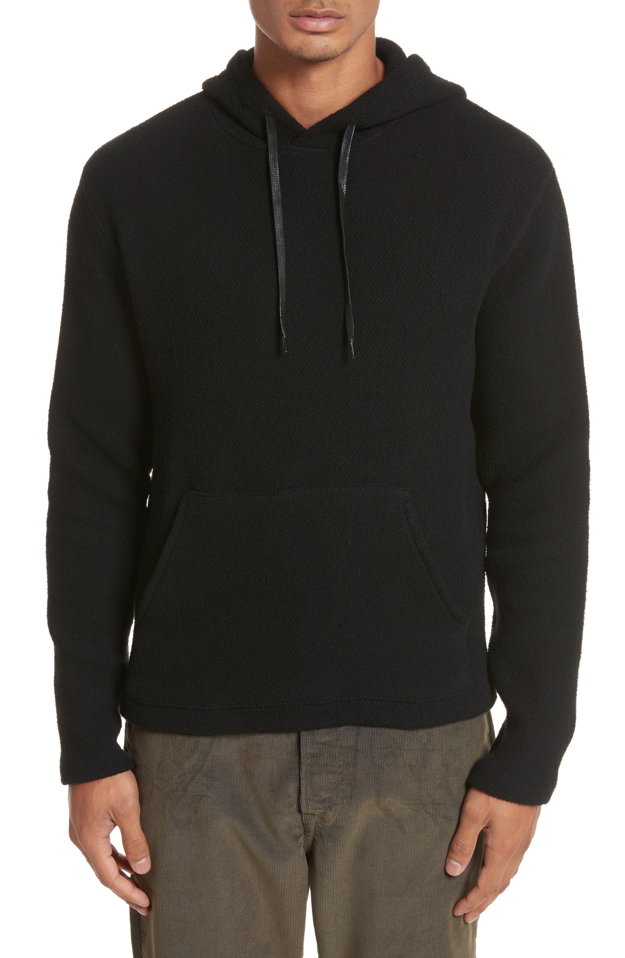 Chunky Waffle Knit Hoodie,                         Main,                         color, Black