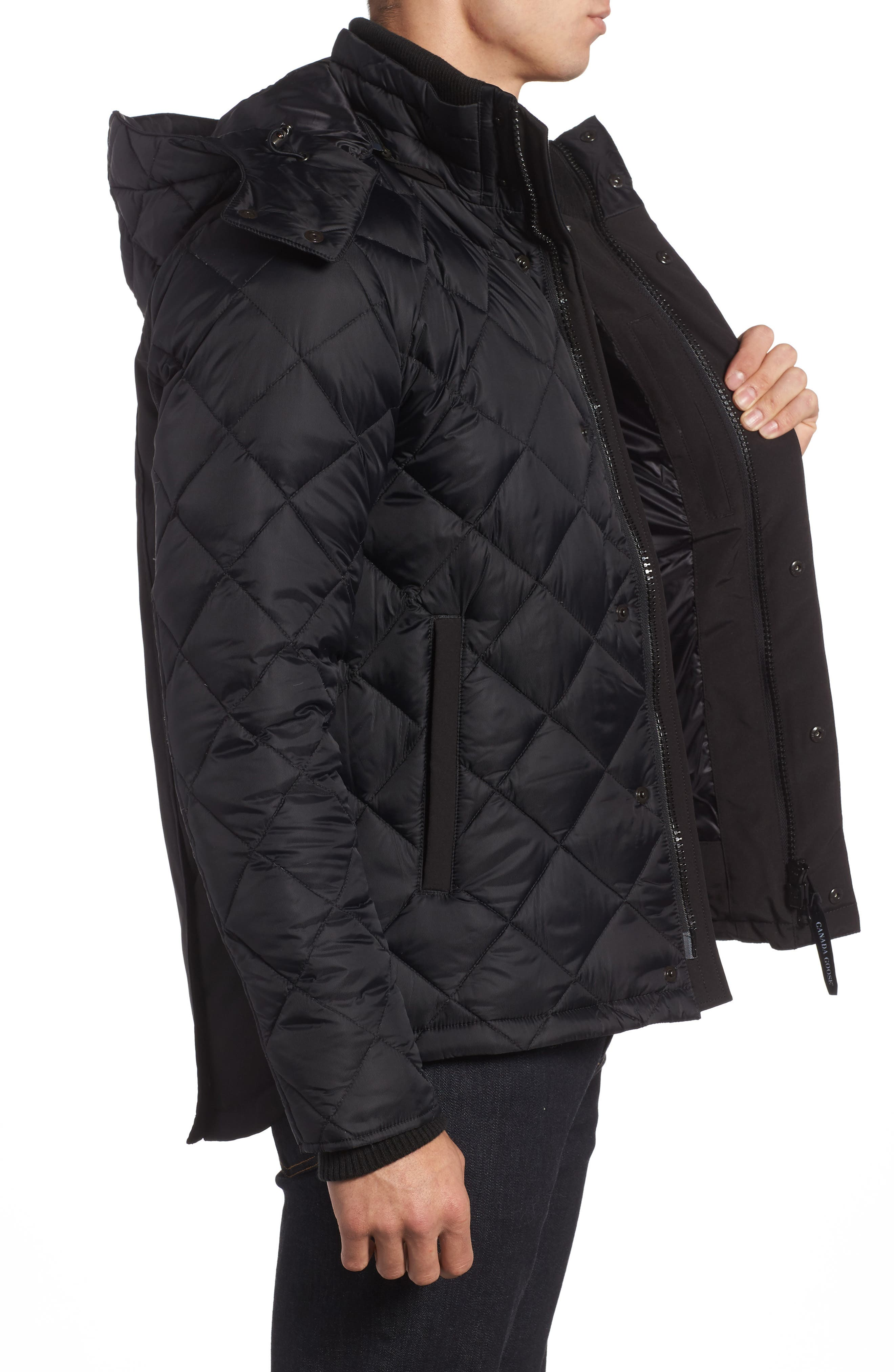 Hendriksen Quilted Down Coat,                             Alternate thumbnail 3, color,                             Black