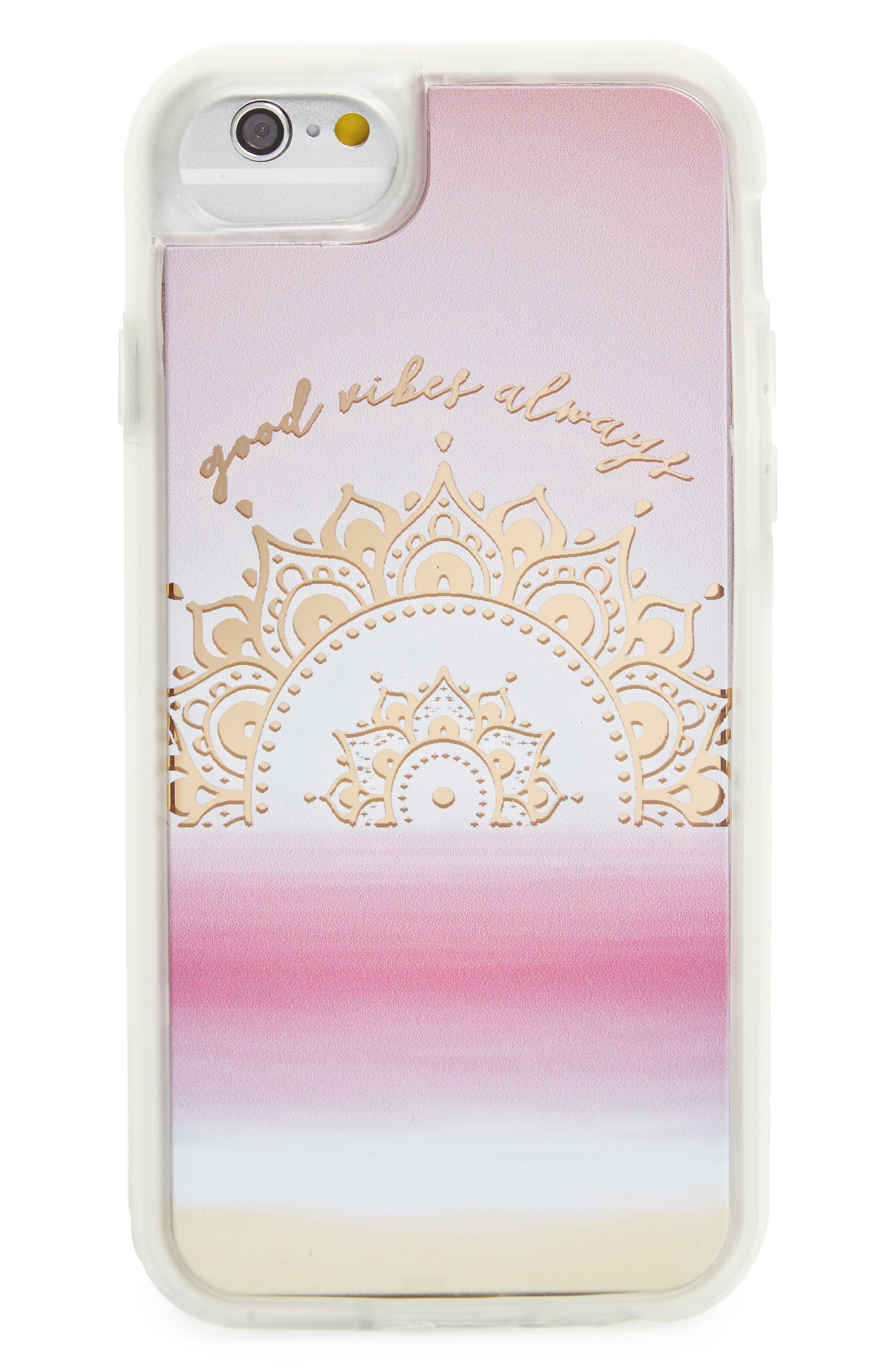 Good Vibes Only iPhone 6/6s/7 Case,                         Main,                         color, Pink / Gold