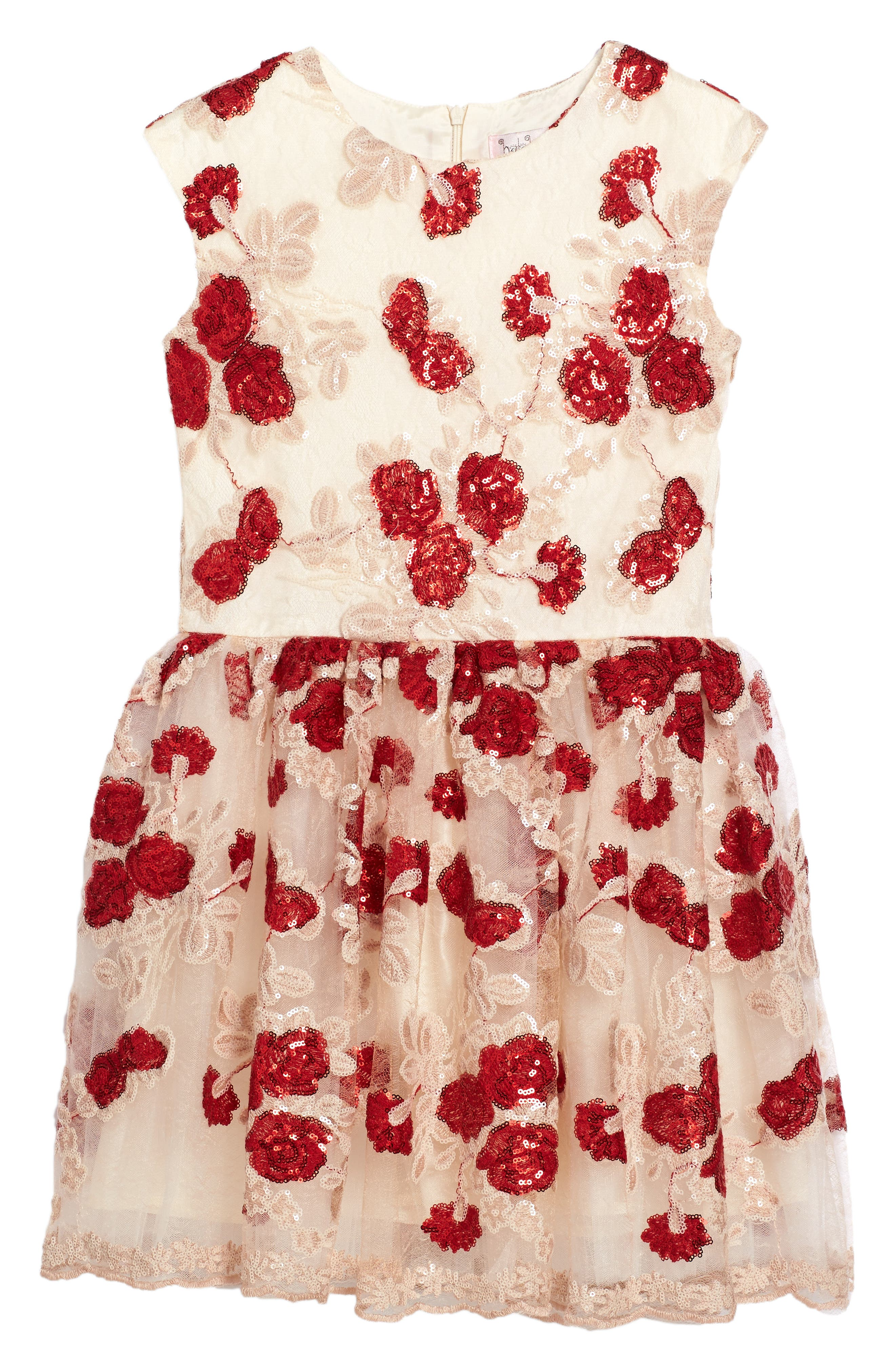 Floral Sequin Mesh Dress,                         Main,                         color, Red