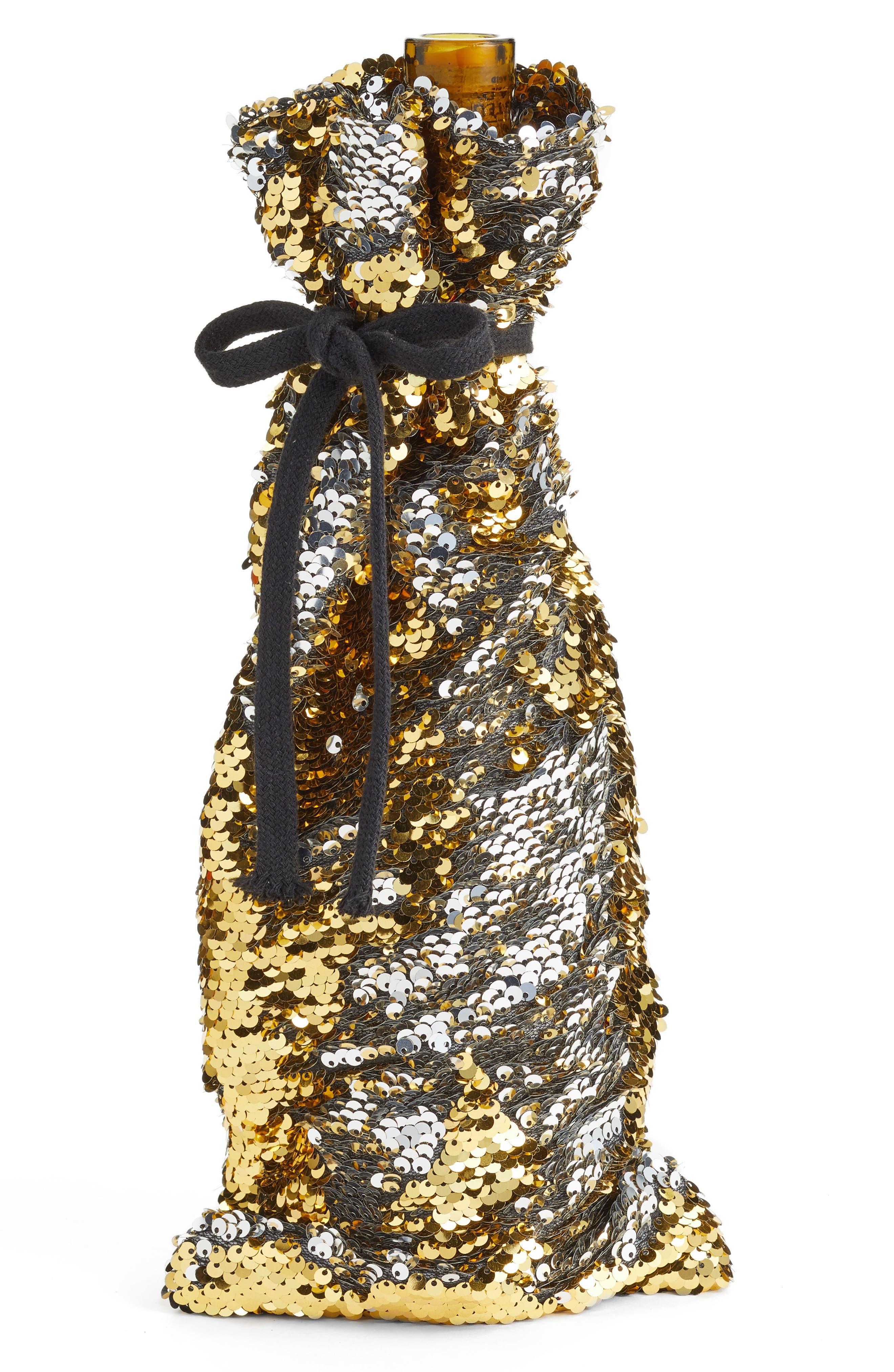 Reverse Sequin Wine Bag,                             Main thumbnail 1, color,                             Gold