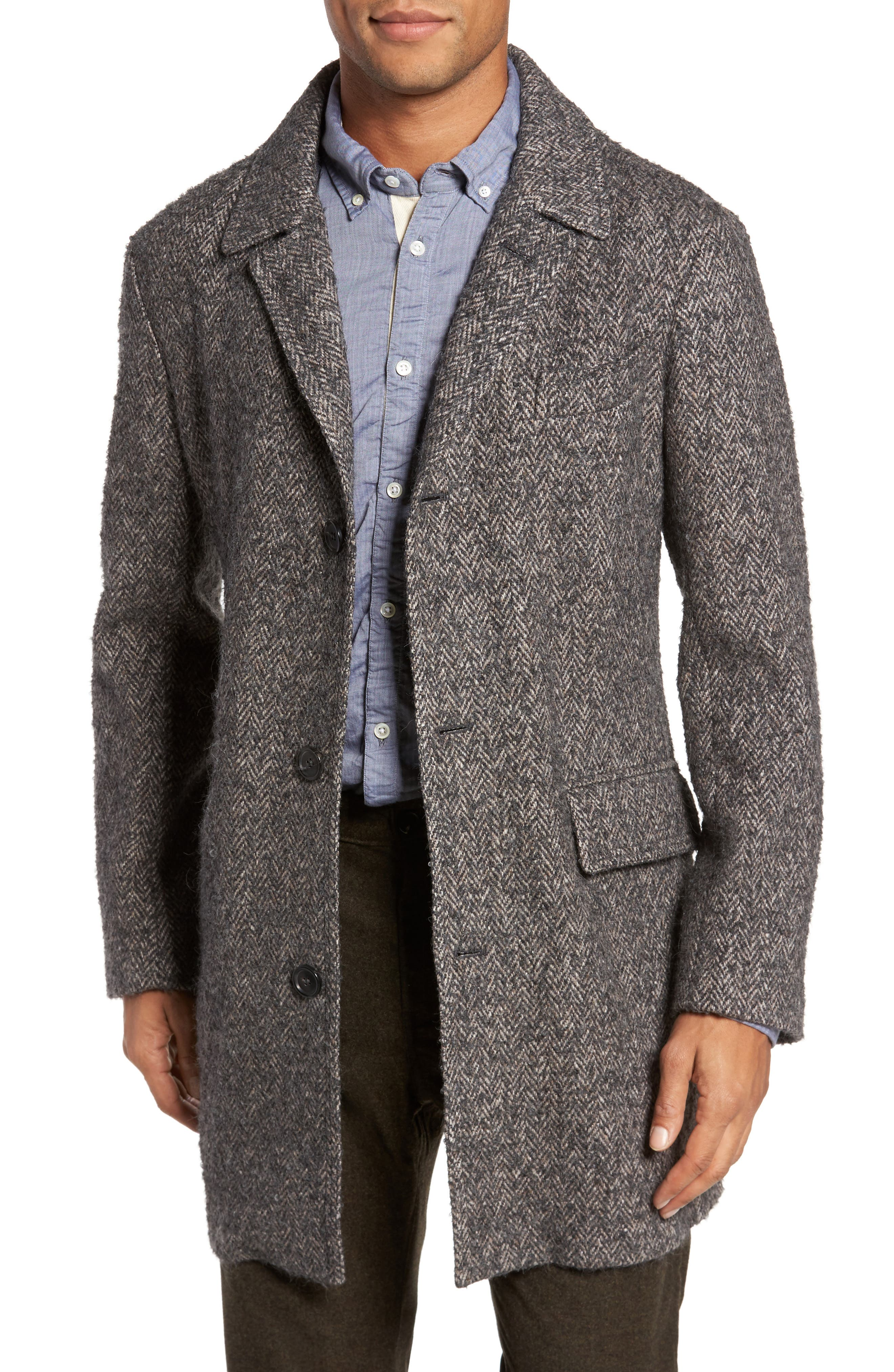 Billy Reid Astor Herringbone Wool Blend Coat
