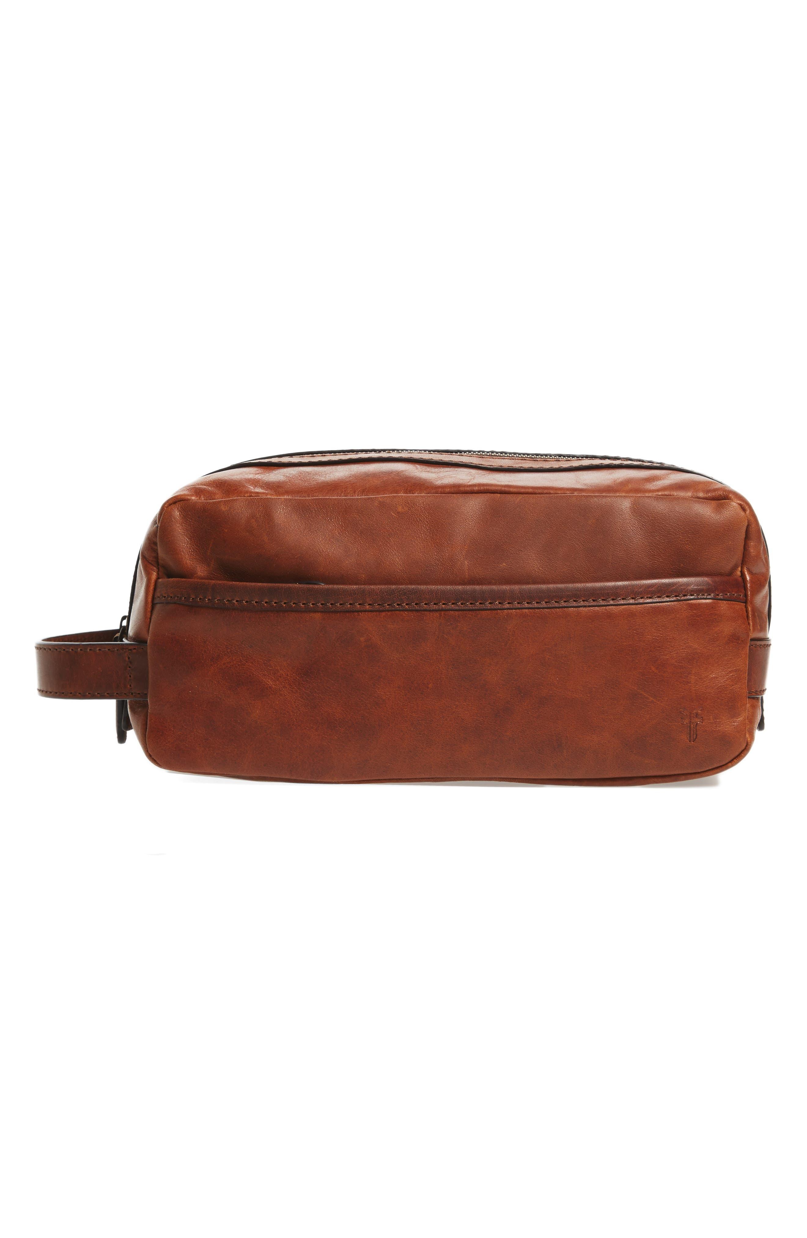 'Logan' Leather Travel Kit,                             Main thumbnail 1, color,                             Cognac