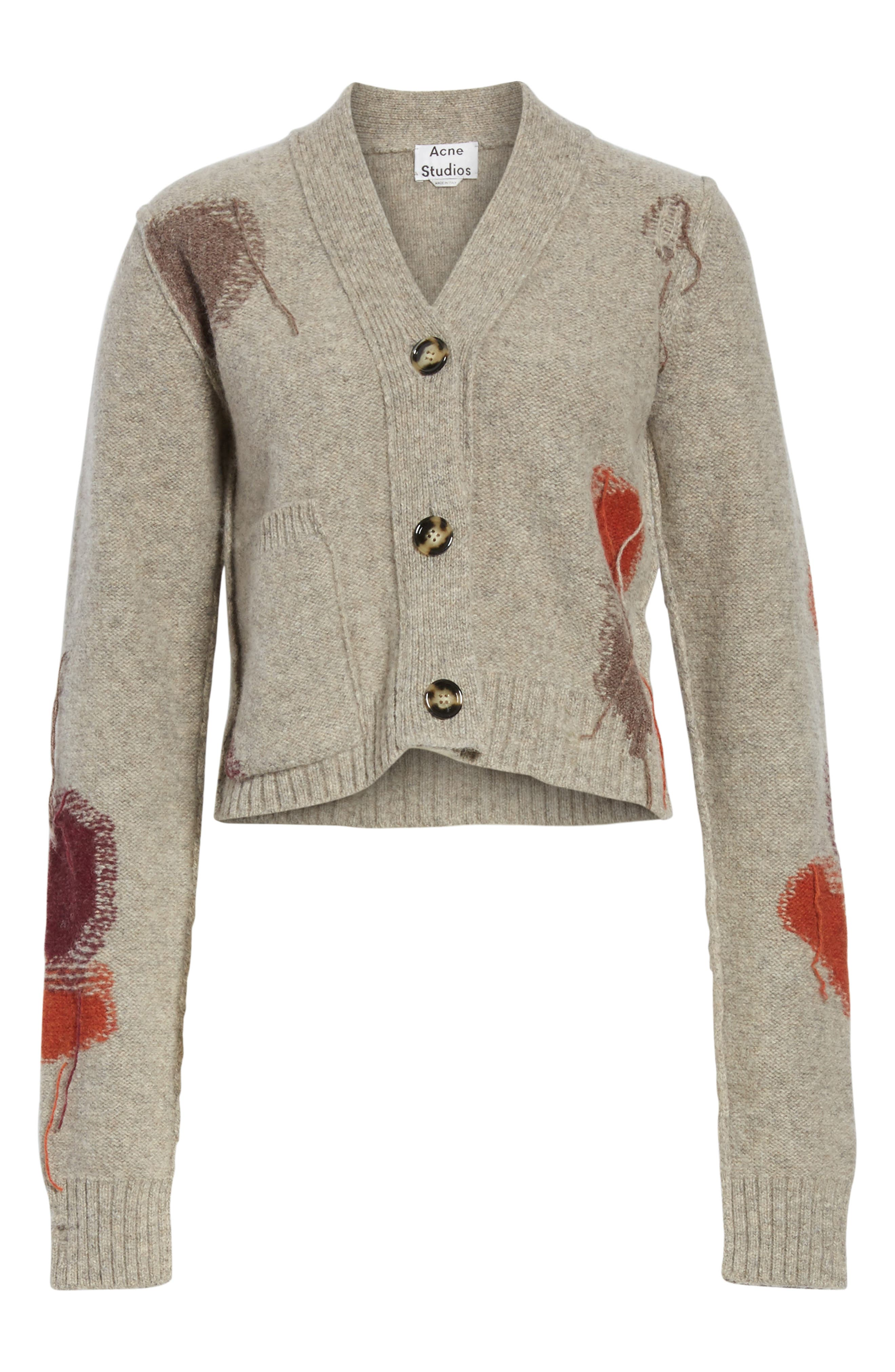 Lysa Distressed Wool Button Cardigan,                             Alternate thumbnail 6, color,                             Stone Beige