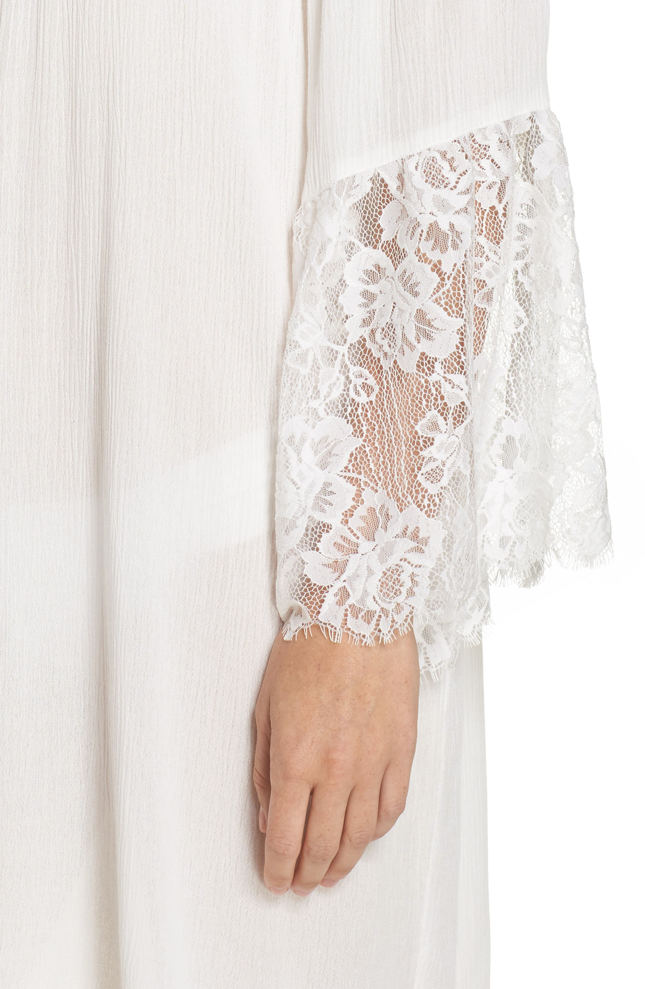 Off the Shoulder Cover-Up Dress,                             Alternate thumbnail 5, color,                             Ivory Egret