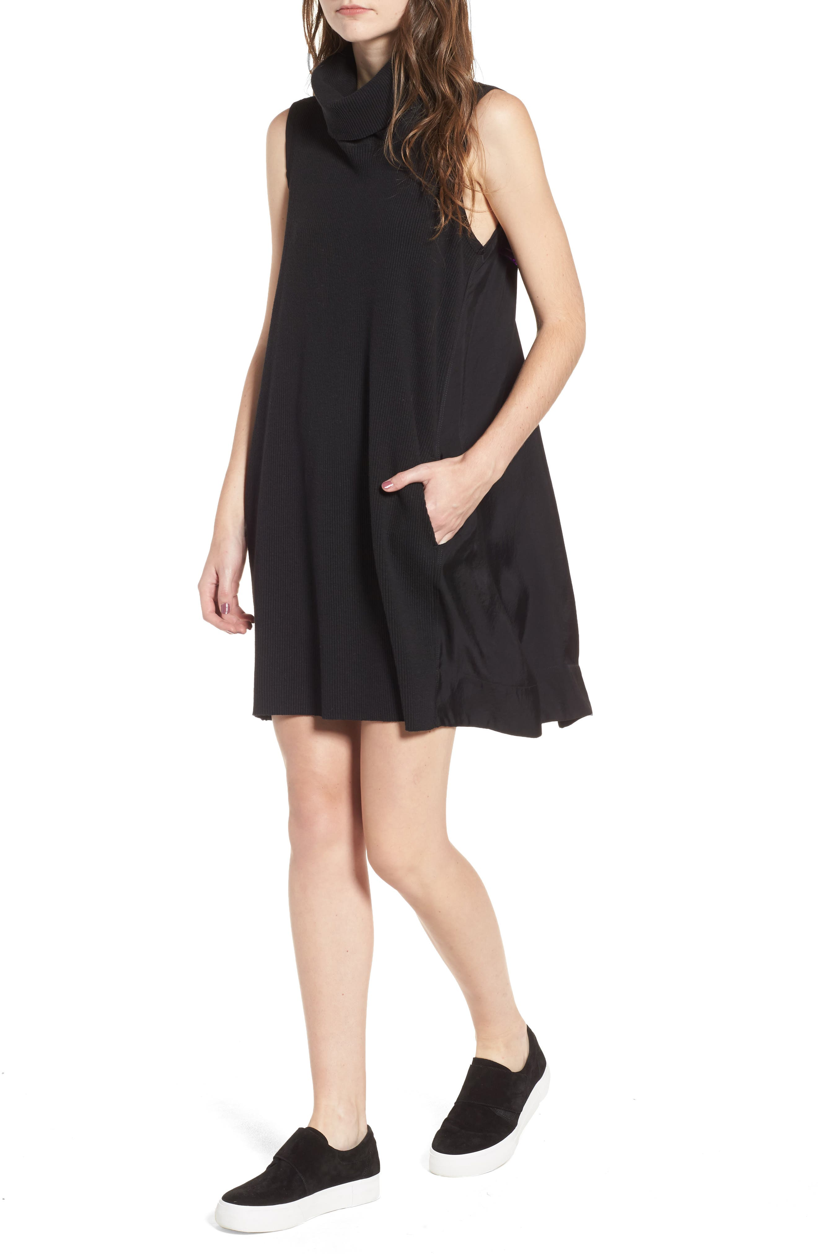 Mixed Media Turtleneck Shift Dress,                             Main thumbnail 1, color,                             Black