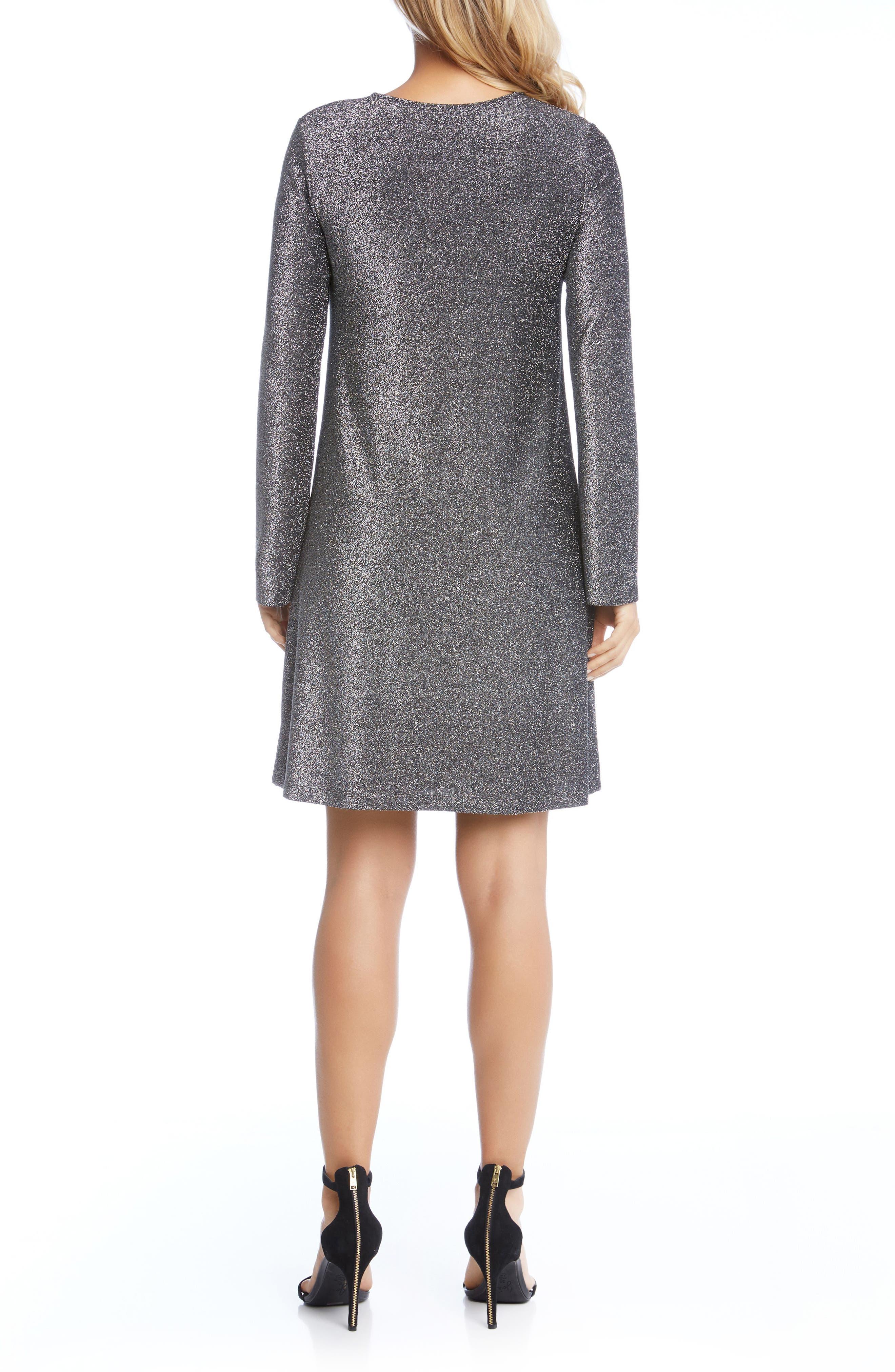 Taylor Sparkle A-Line Dress,                             Alternate thumbnail 3, color,                             Black W/ Silver