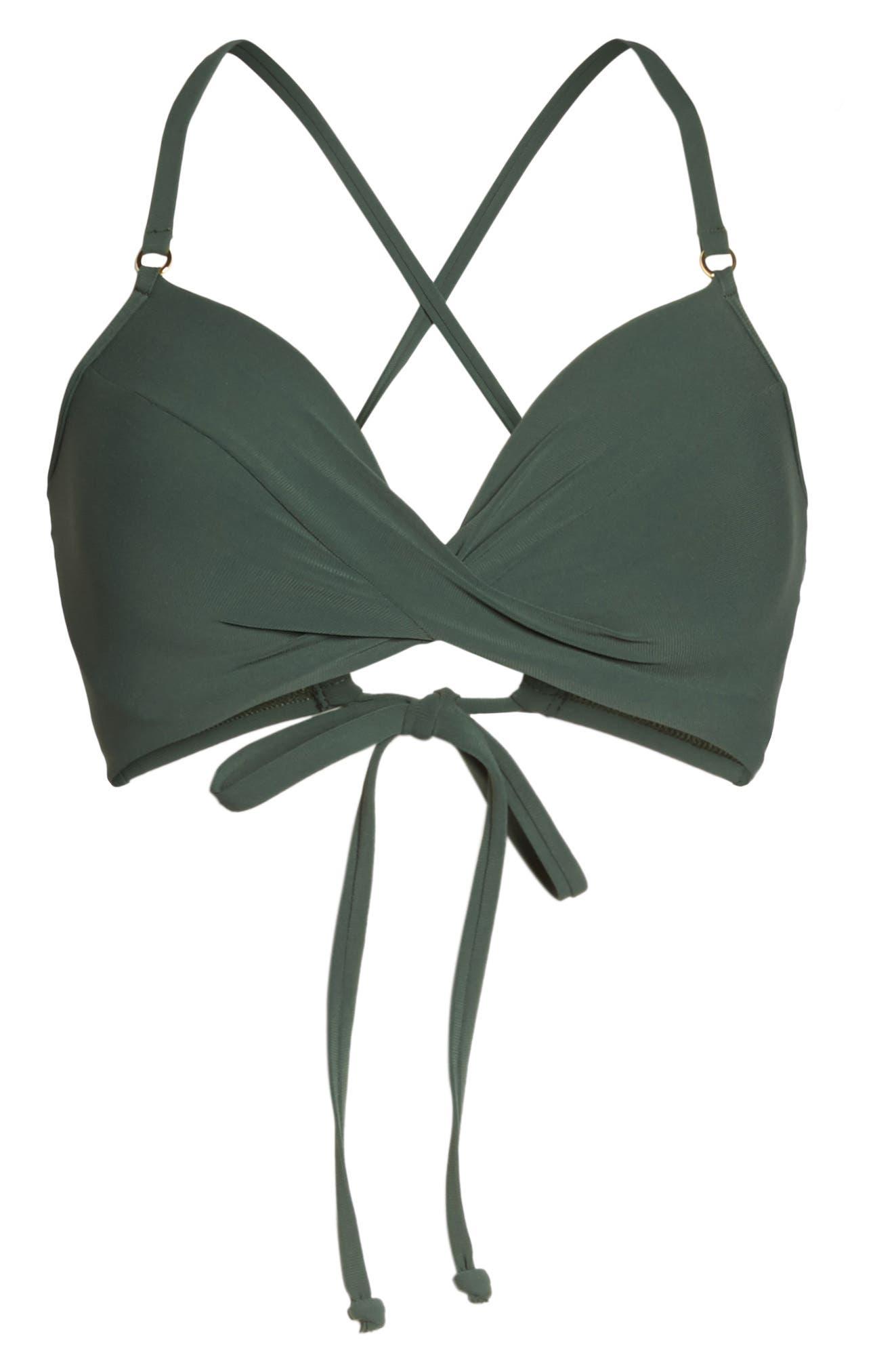 Ava Underwire D-Cup Bikini Top,                             Alternate thumbnail 6, color,                             Deep Forest