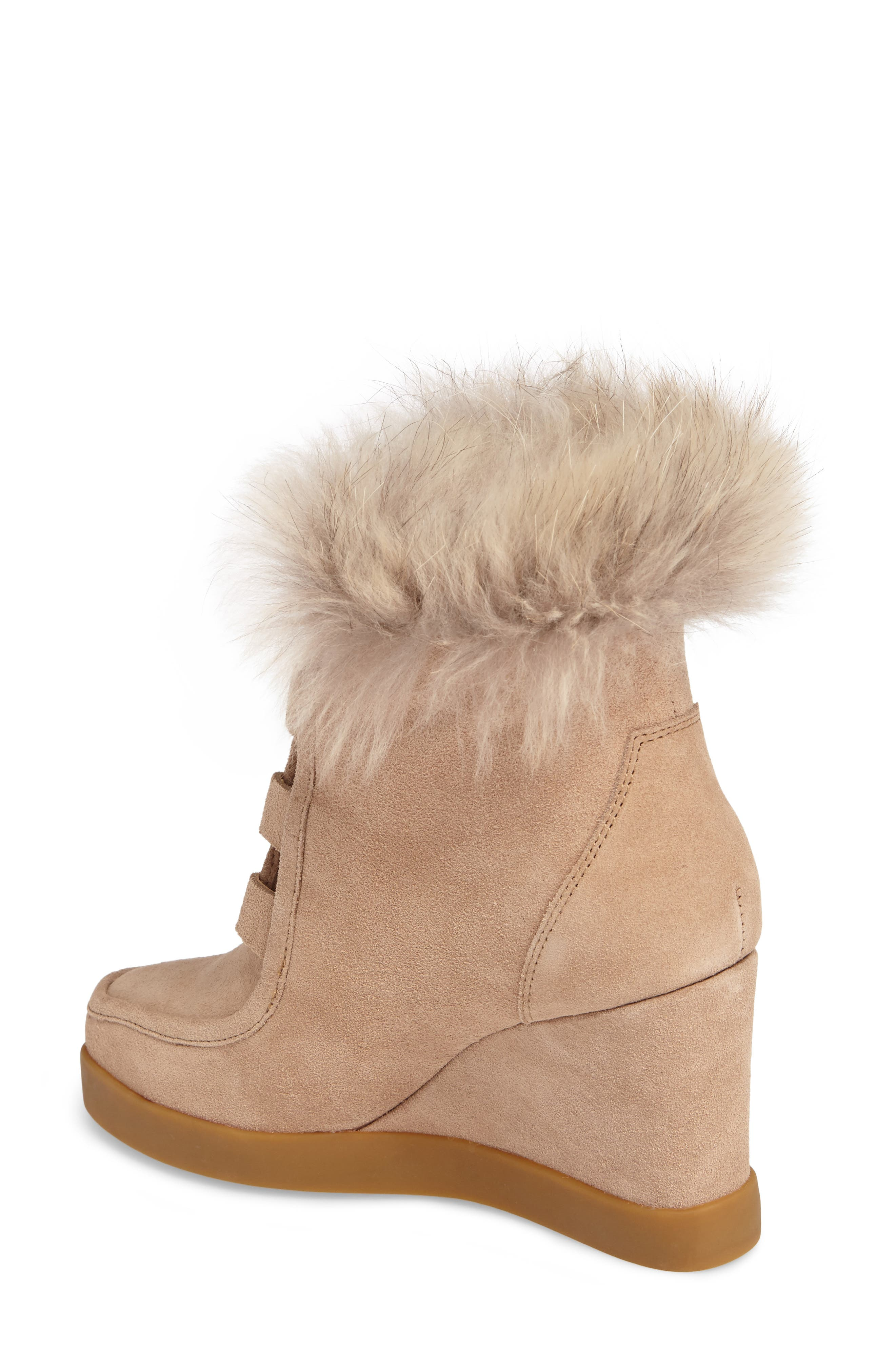 Holly Wedge Bootie with Genuine Fox Fur Trim,                             Alternate thumbnail 2, color,                             Natural Suede