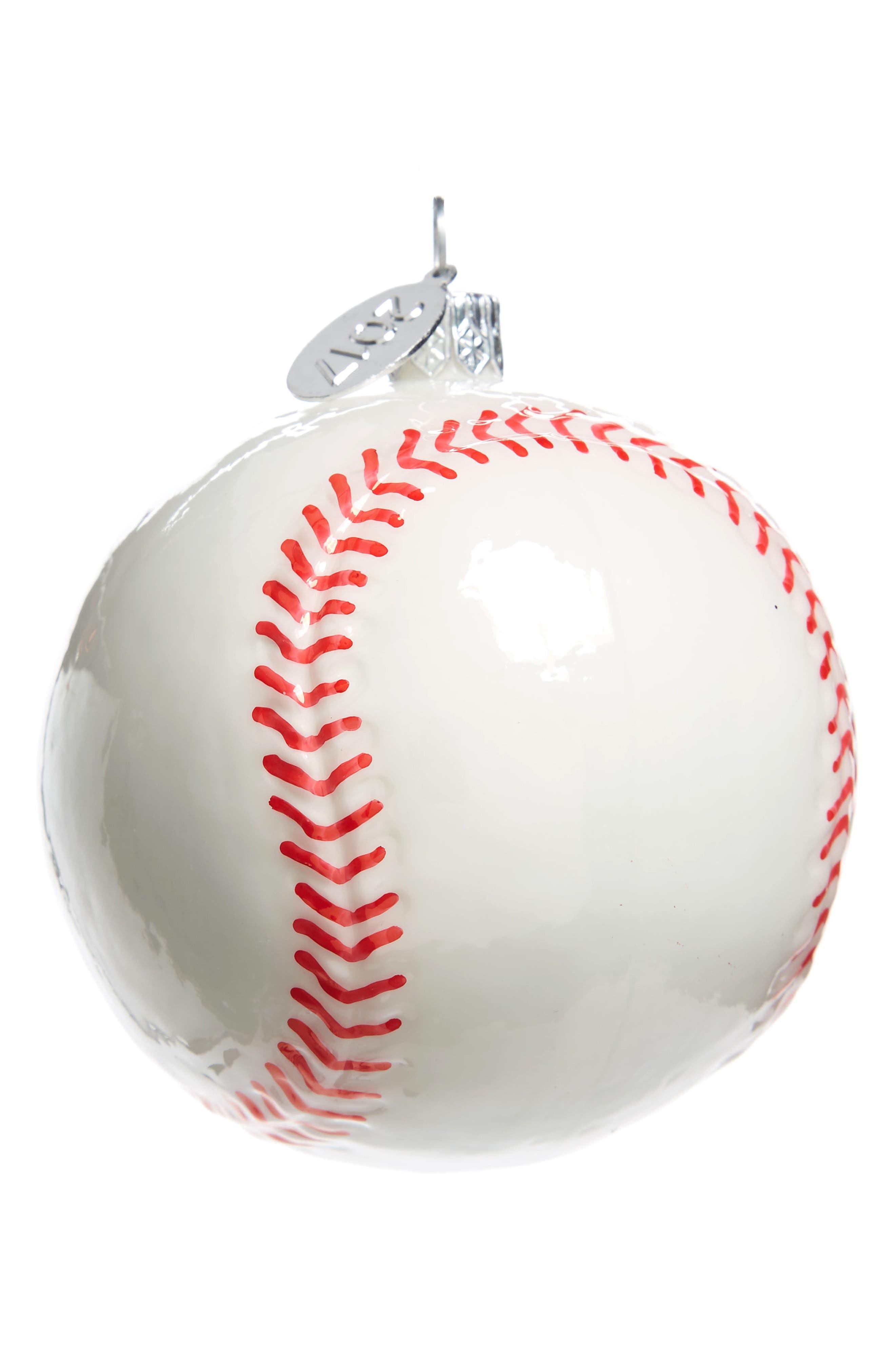 Sports Glass Ornament,                         Main,                         color, White Baseball