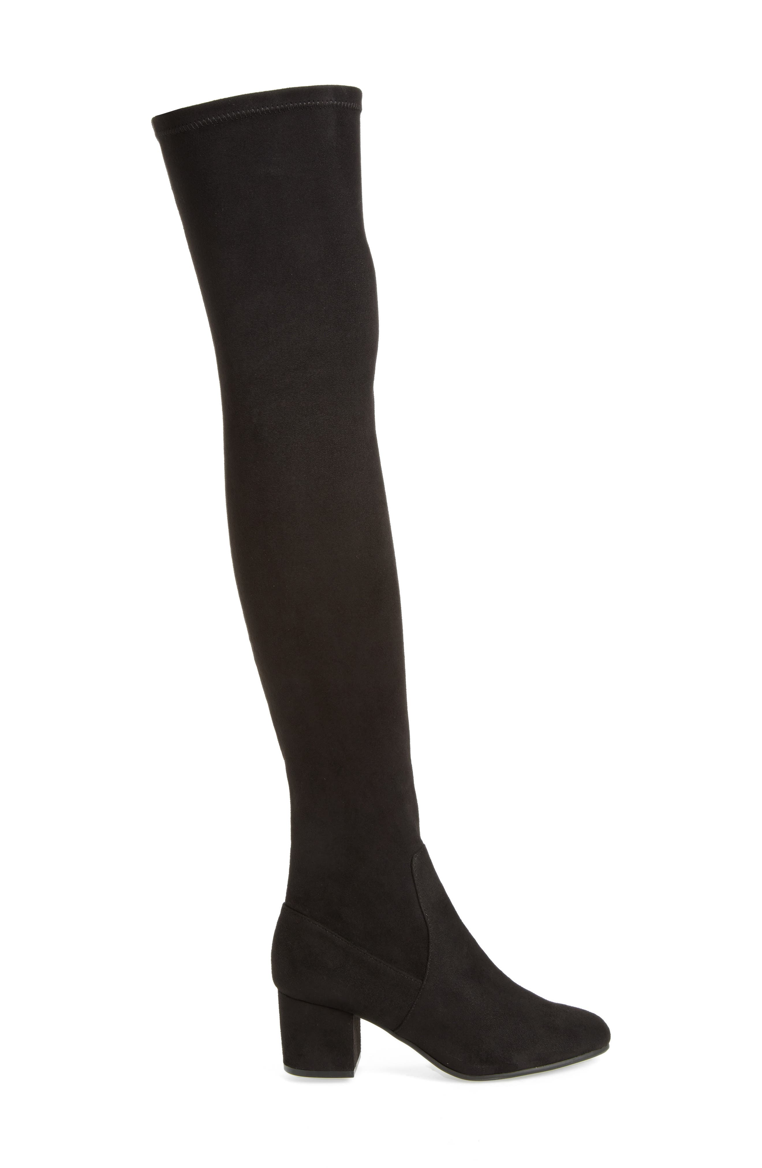 Isaac Over the Knee Boot,                             Alternate thumbnail 3, color,                             Black Suede