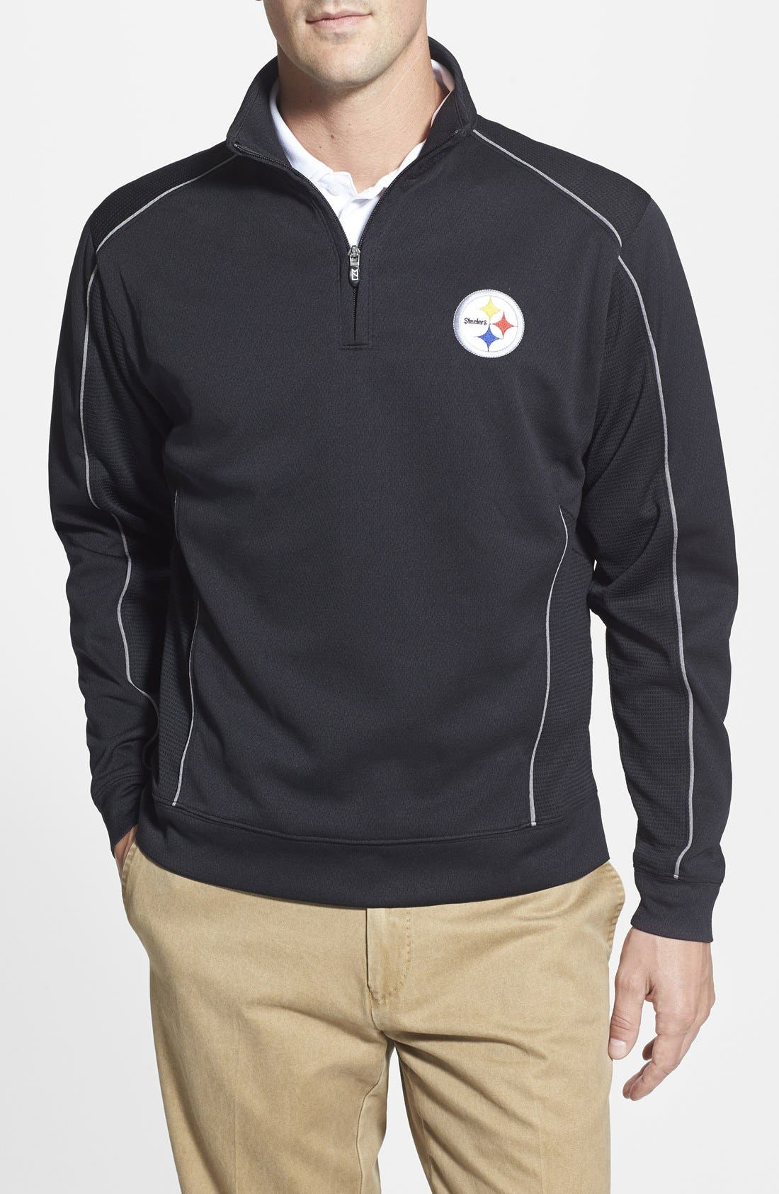 Pittsburgh Steelers - Edge DryTec Moisture Wicking Half Zip Pullover,                             Main thumbnail 1, color,                             Black