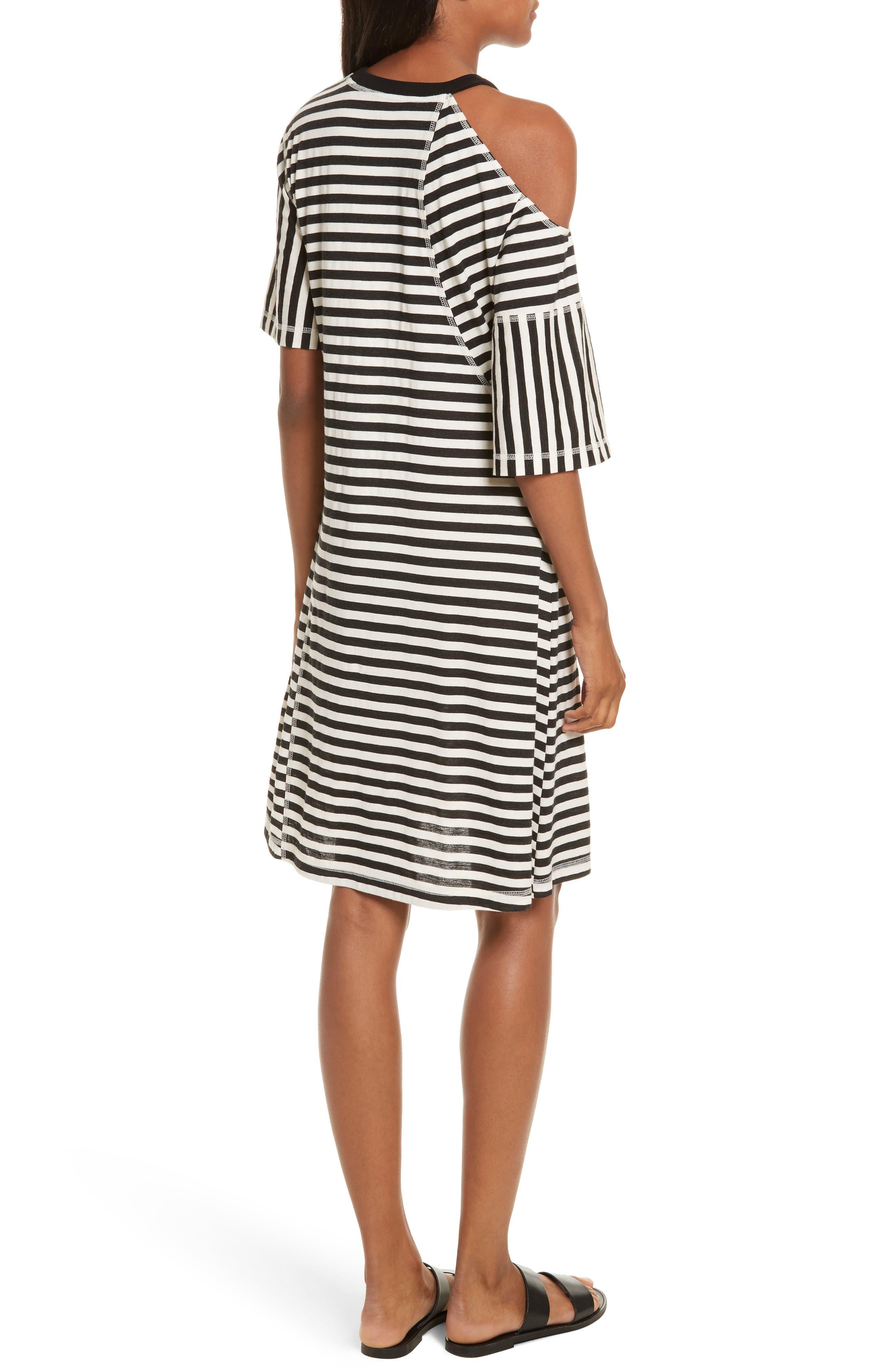 Stripe Jersey Cold Shoulder Dress,                             Alternate thumbnail 2, color,                             Black/ Cream