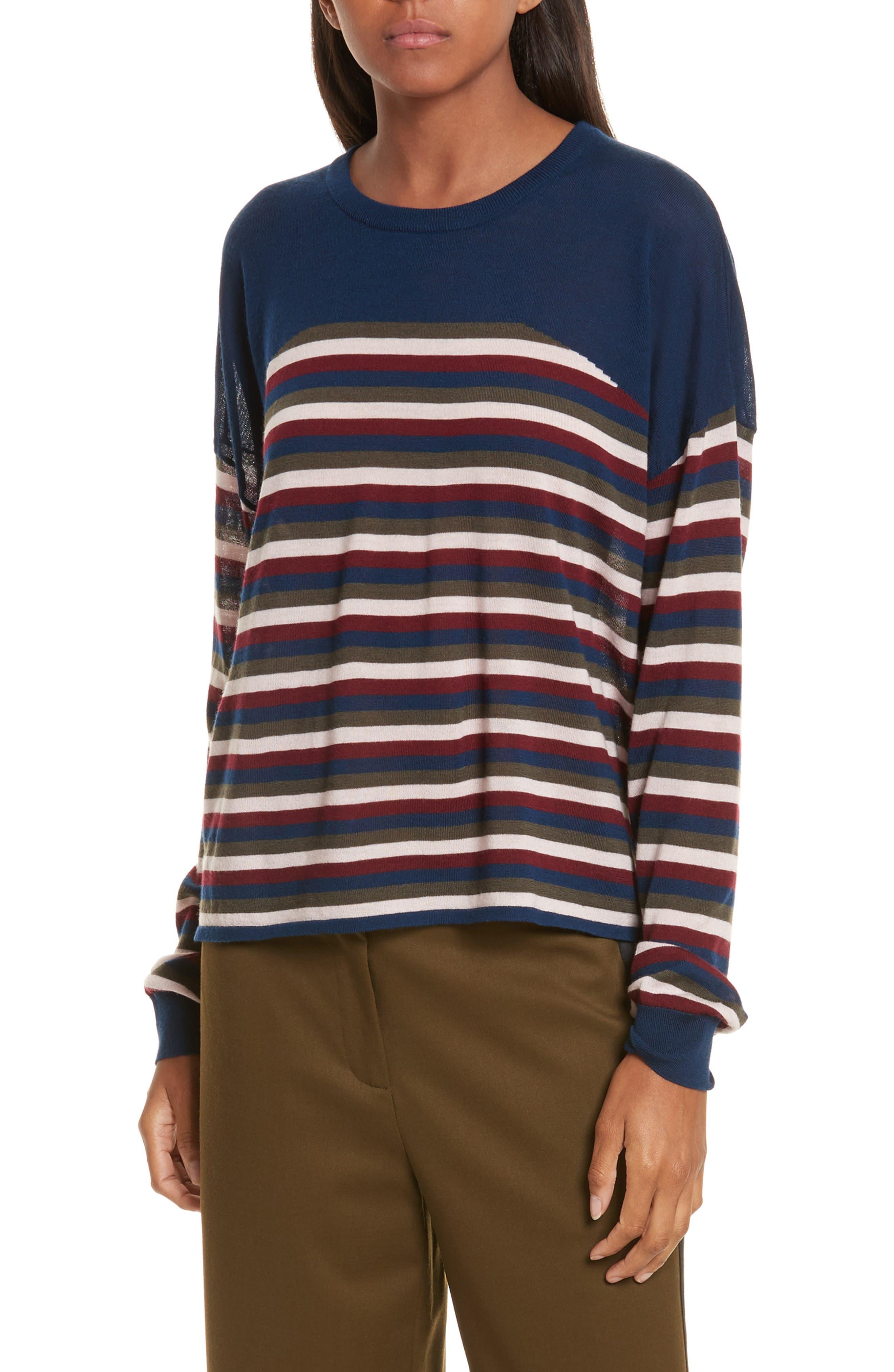 Stripe Knit Pullover,                         Main,                         color, Midnight Multi