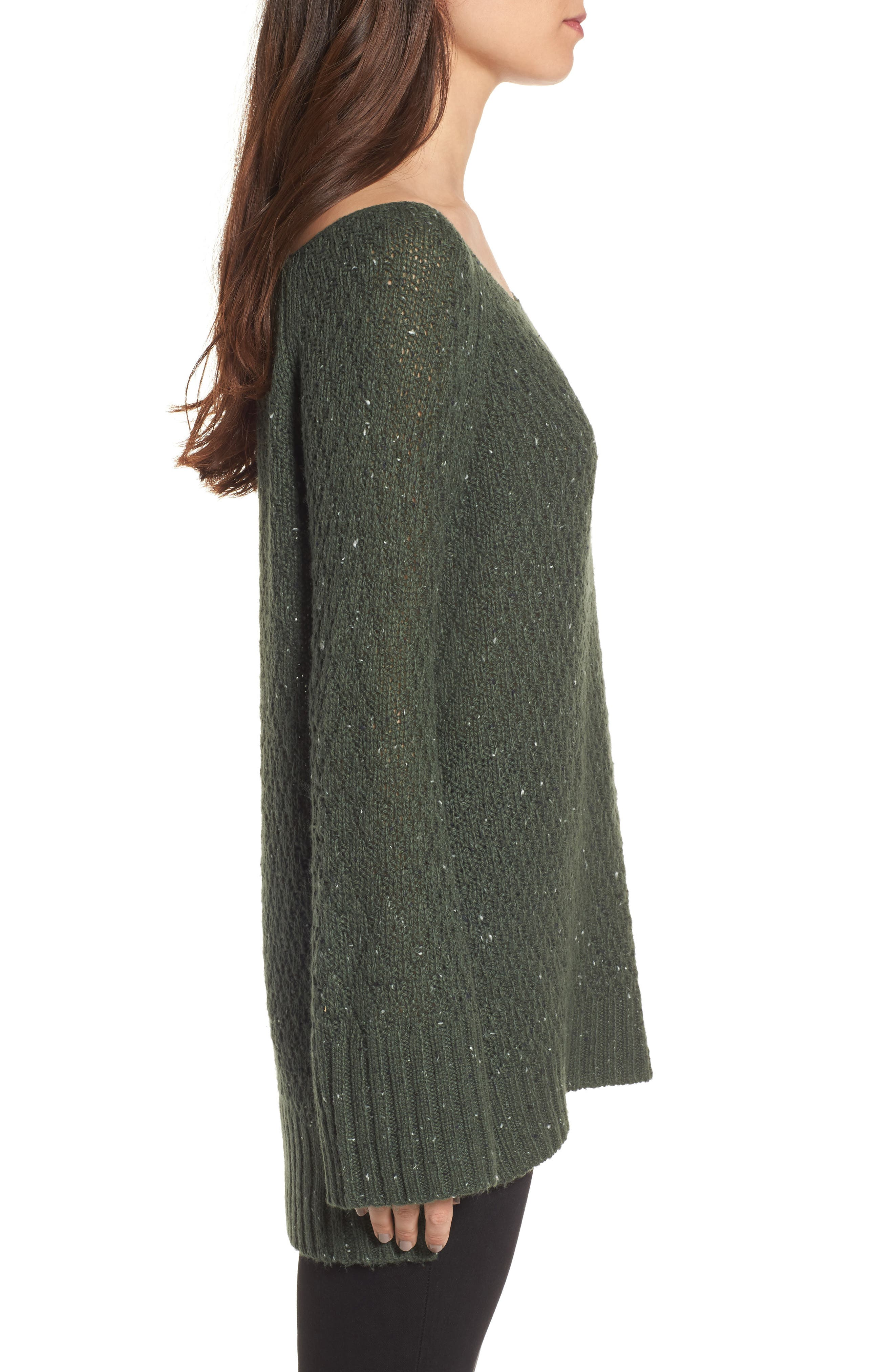 Slouchy Tunic Sweater,                             Alternate thumbnail 3, color,                             Green Wood