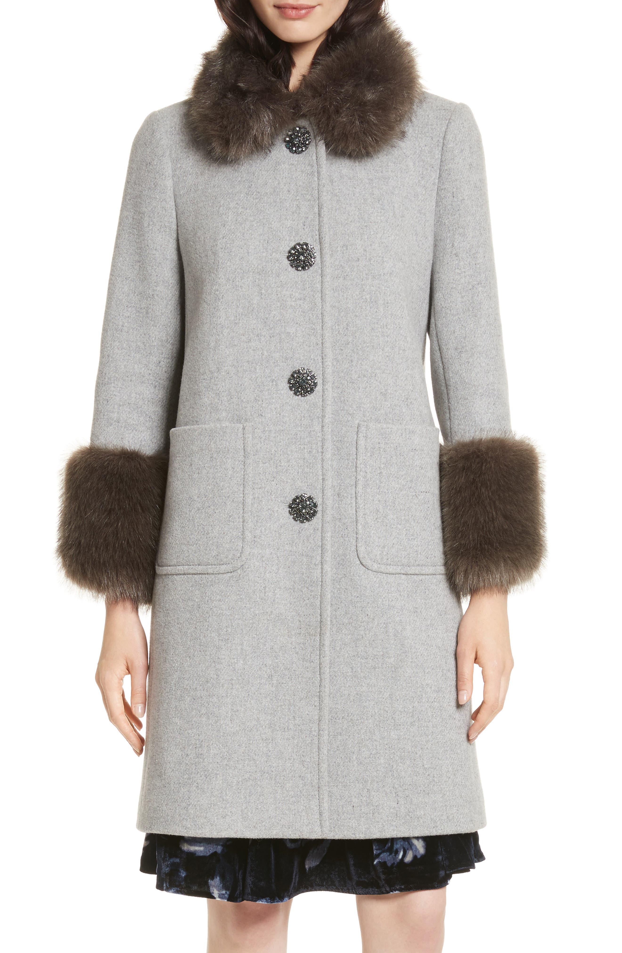 faux fur trim coat,                         Main,                         color, Grey