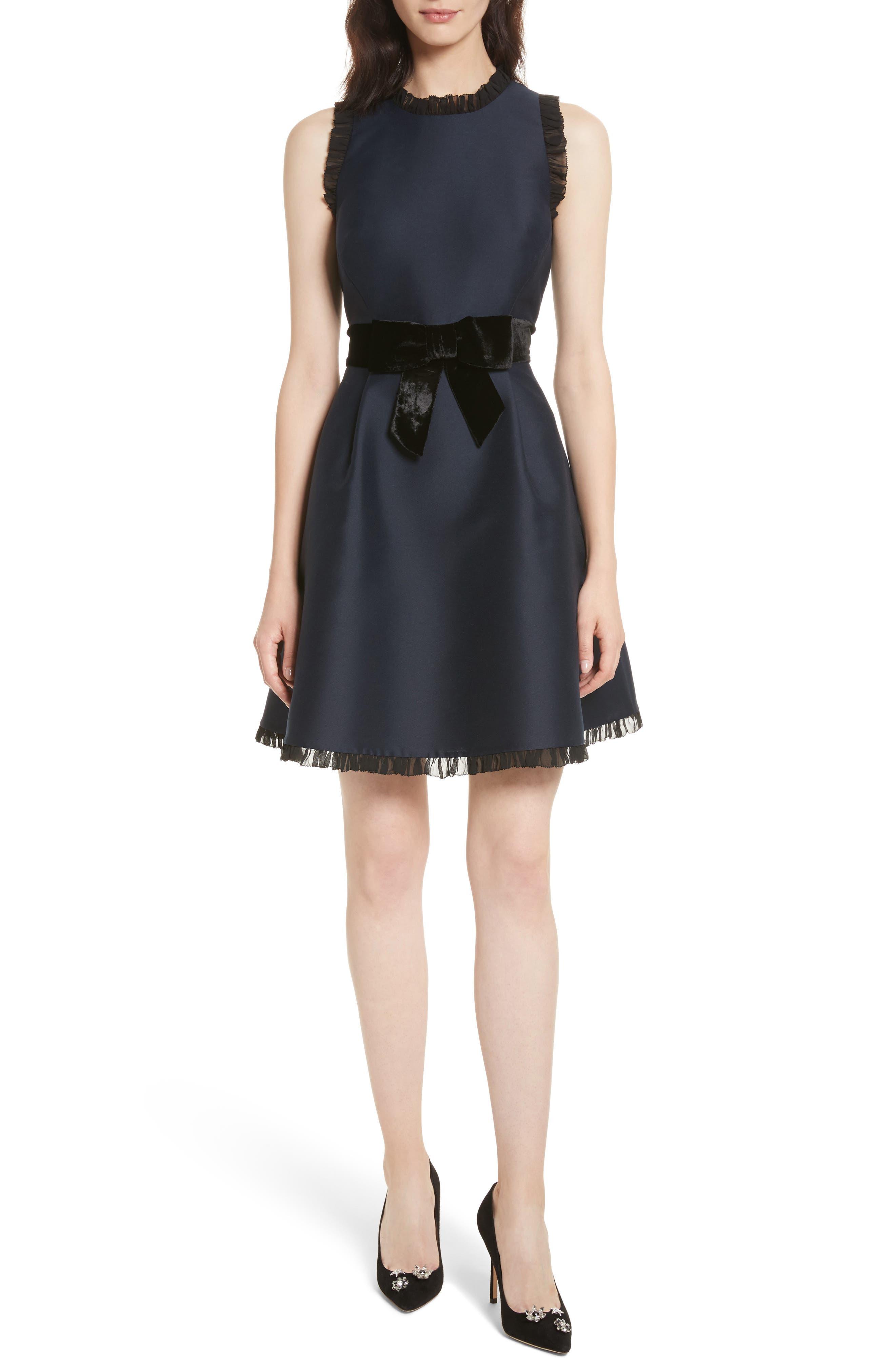 velvet bow fit & flare dress,                         Main,                         color, Rich Navy