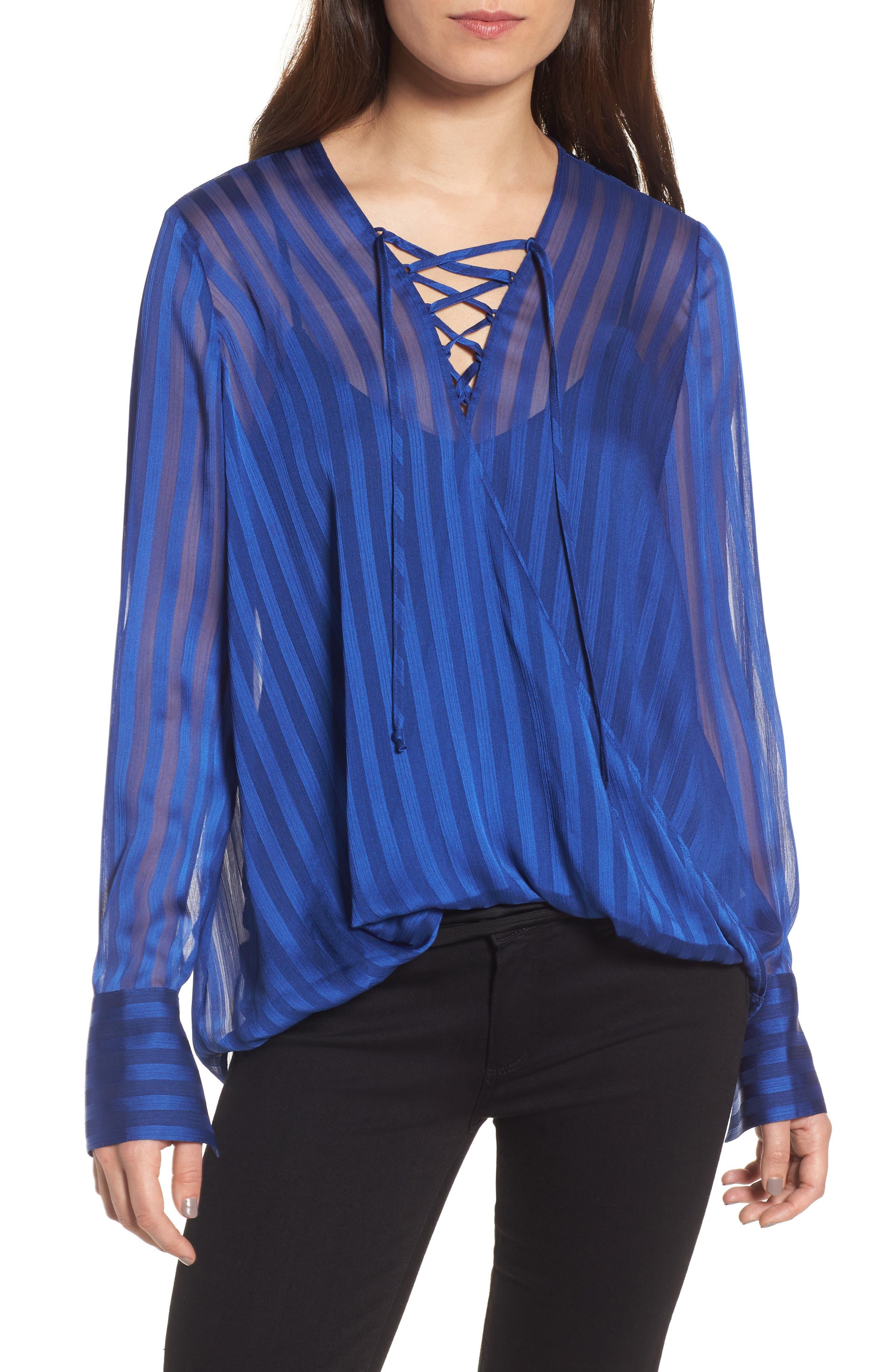 Sheer Shadow Stripe Top,                         Main,                         color, Blue Mazarine