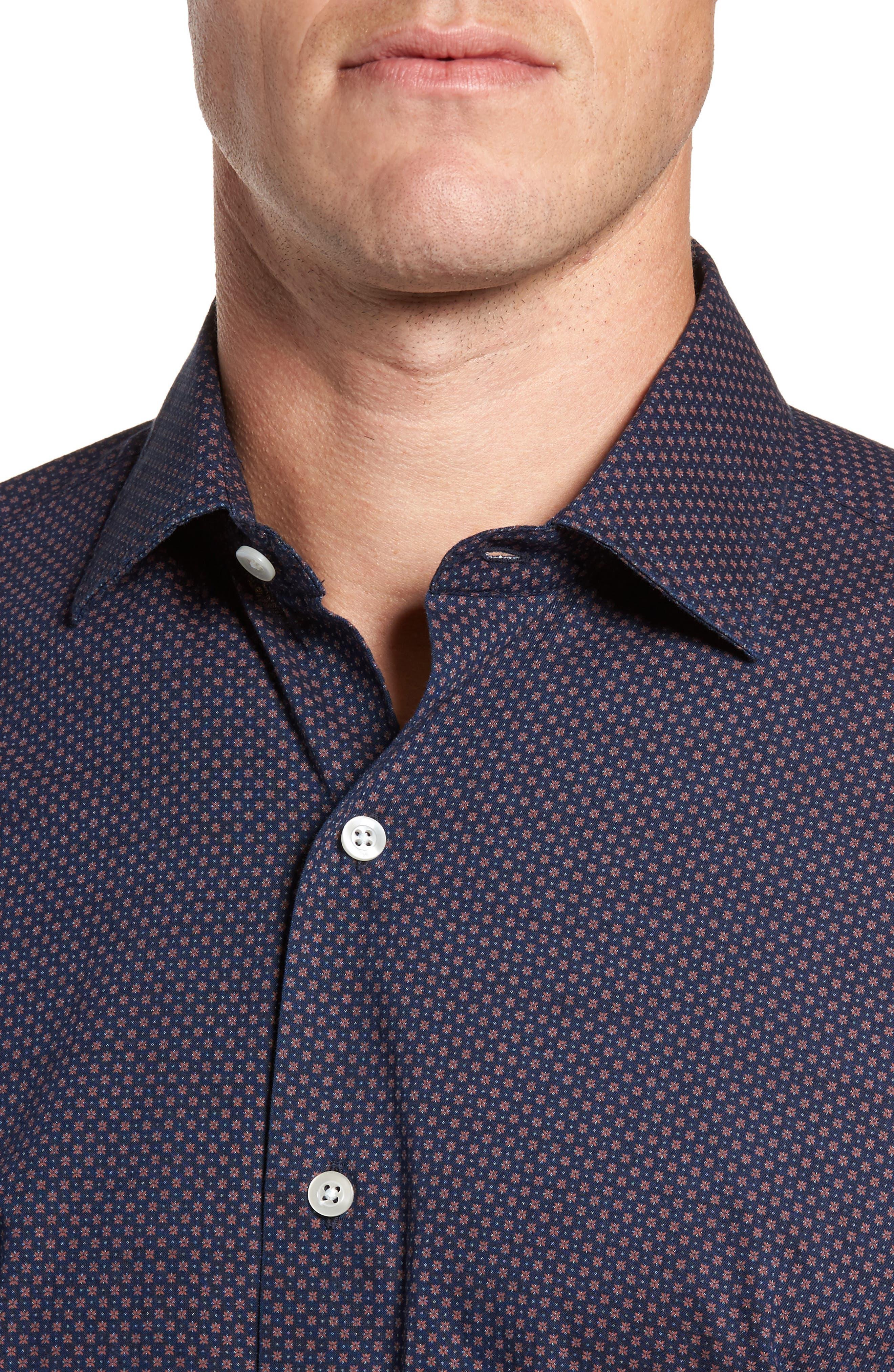 Dyed Print Sport Shirt,                             Alternate thumbnail 4, color,                             Navy