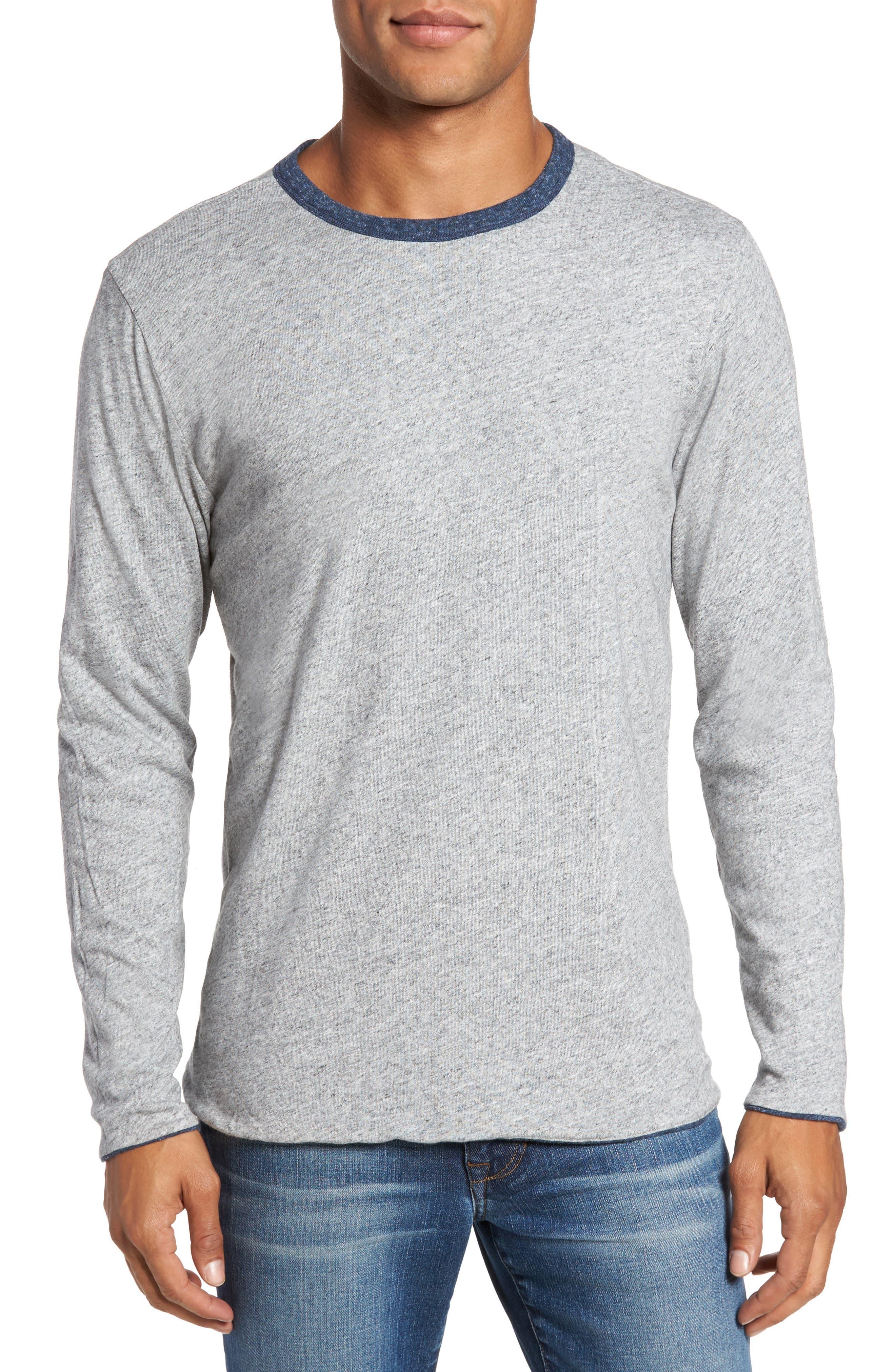 Alternate Image 4  - Faherty Heathered Reversible Long Sleeve Crewneck T-Shirt