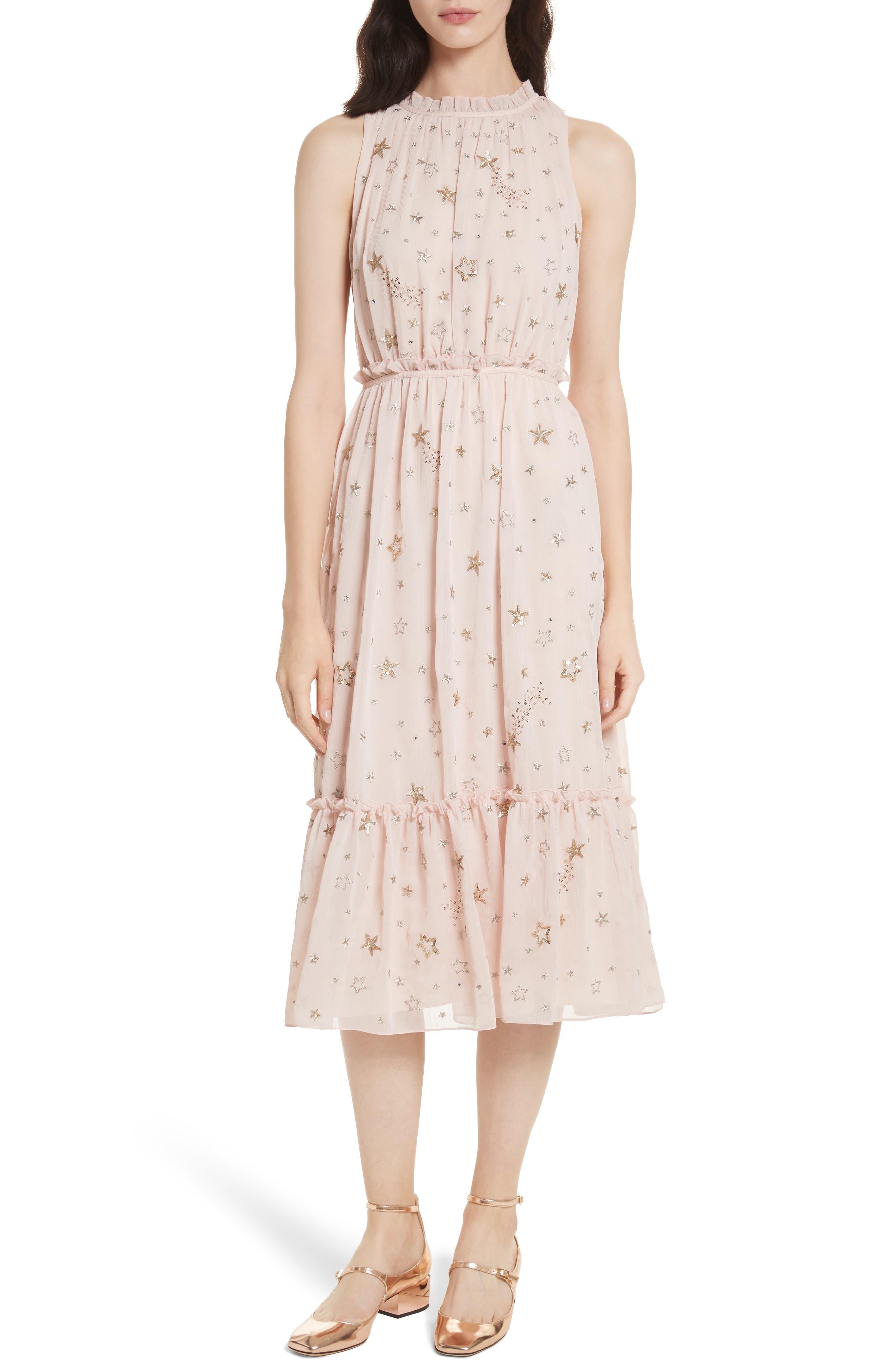 amada embellished midi dress,                         Main,                         color, Rose Dew