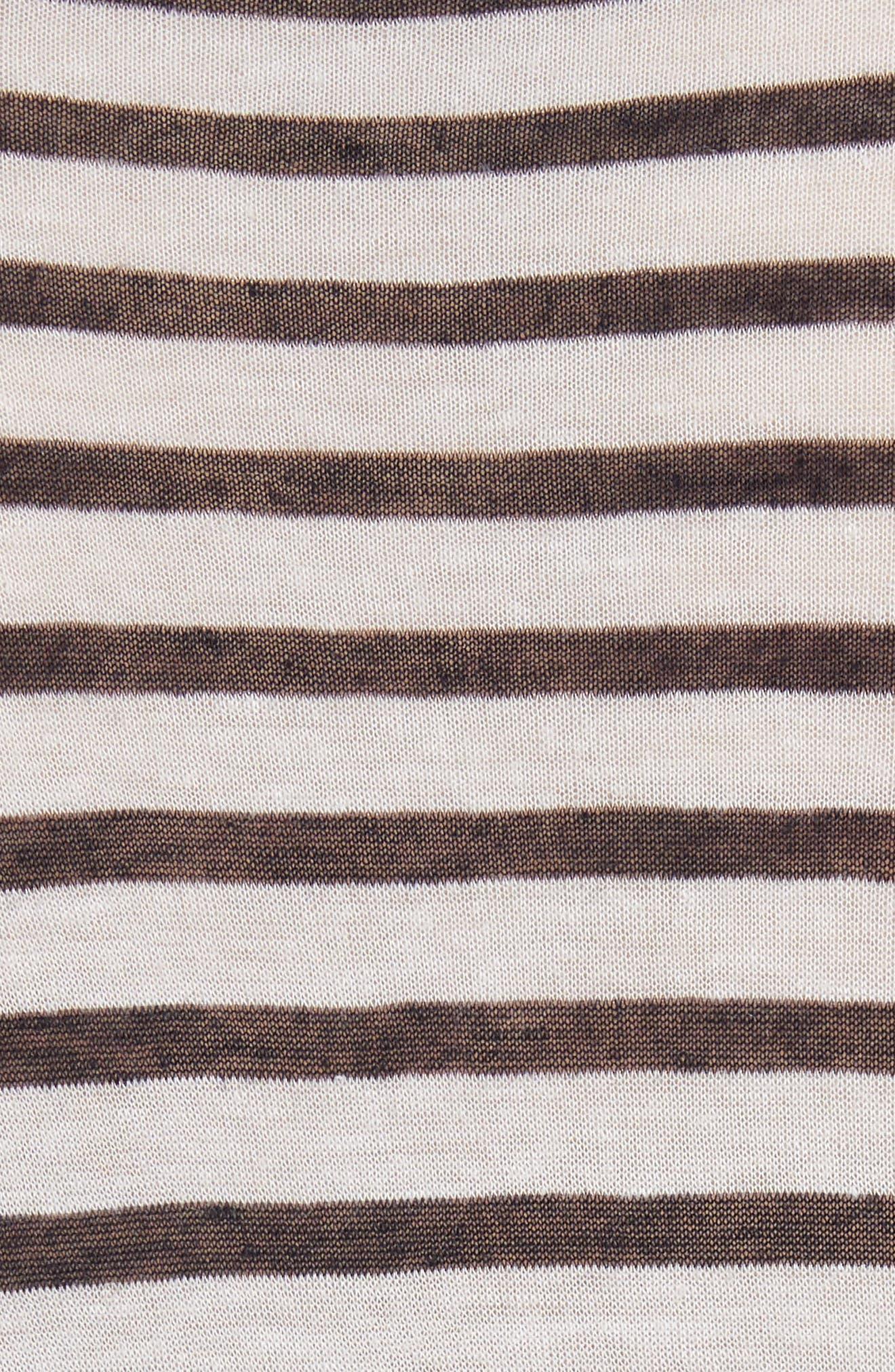 Side Tie Stripe Slub Jersey Tee,                             Alternate thumbnail 4, color,                             Ink/ Ivory
