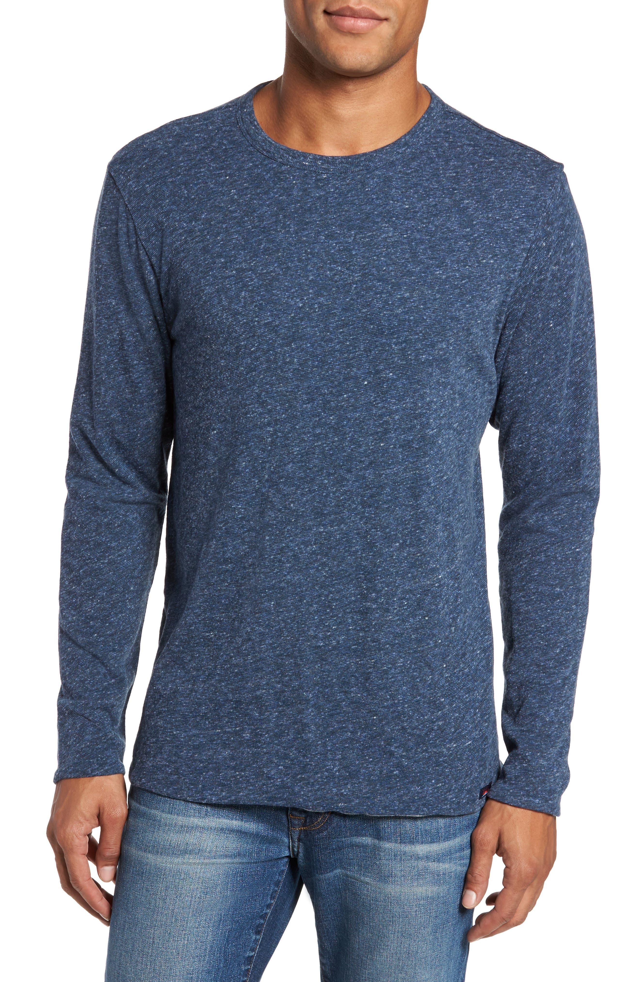 Heathered Reversible Long Sleeve Crewneck T-Shirt,                         Main,                         color, Navy / Grey