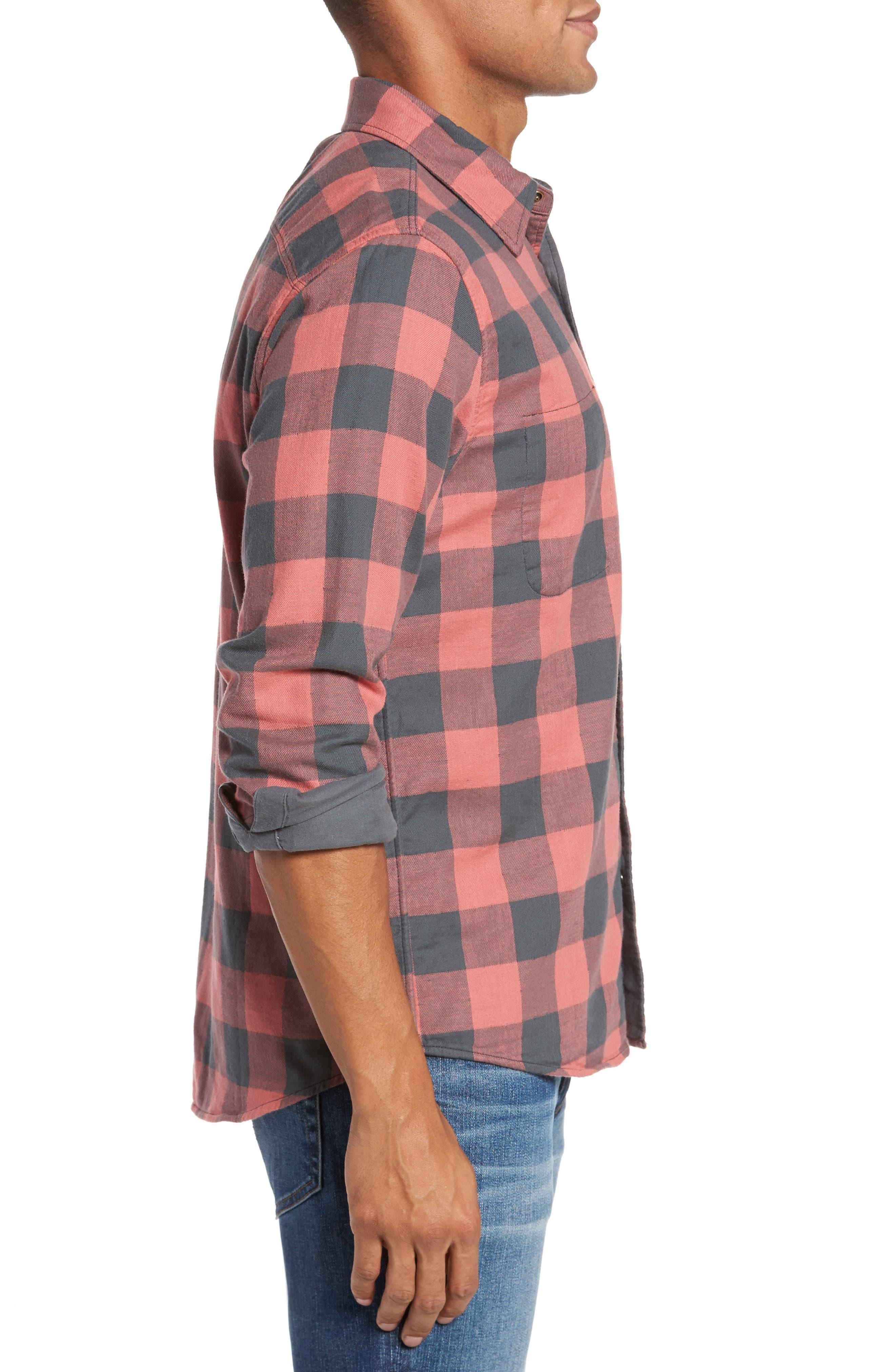 Belmar Trim Fit Long Sleeve Reversible Sport Shirt,                             Alternate thumbnail 3, color,                             Grey / Red Buffalo Check