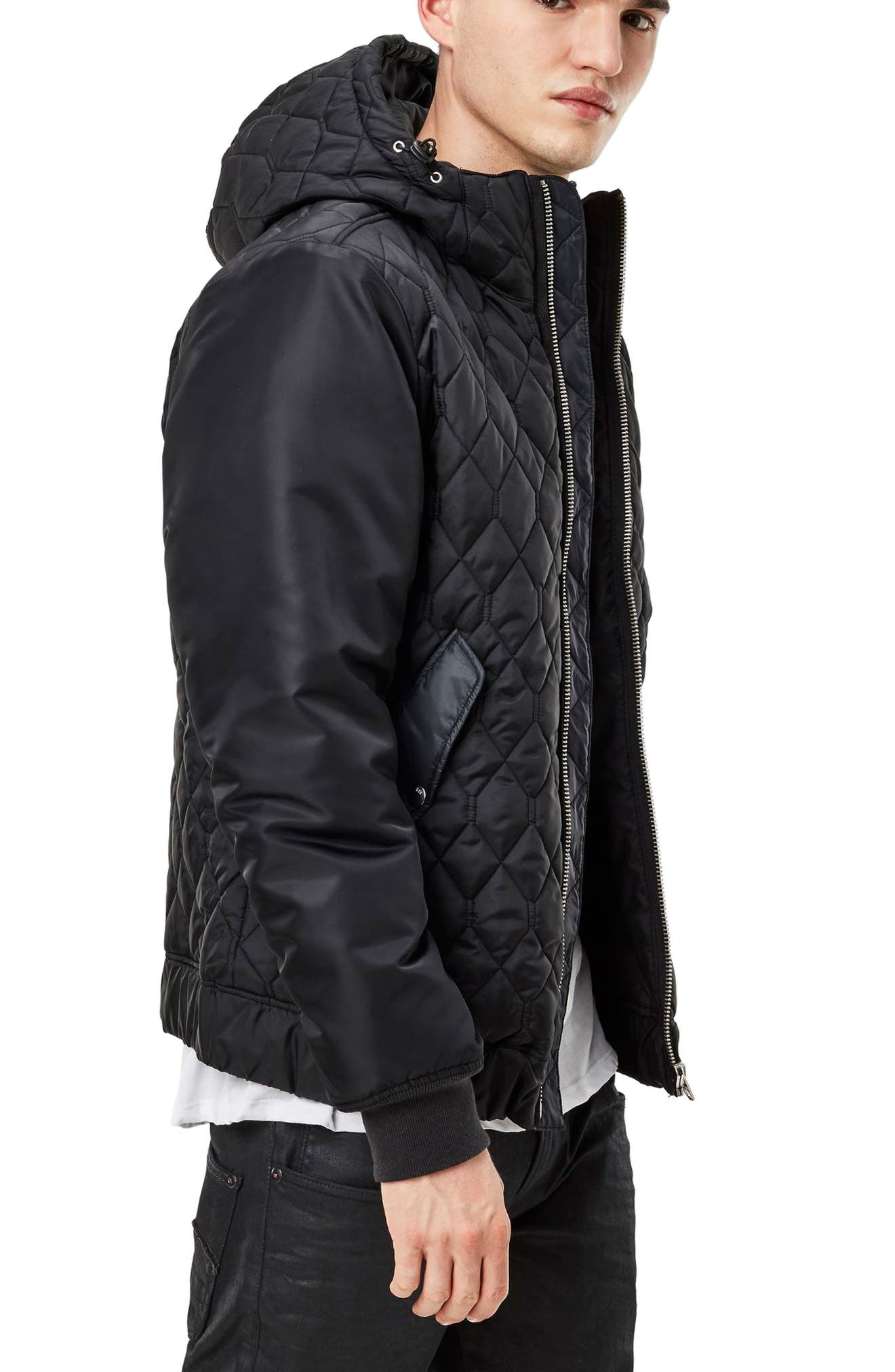 Meefic Hybrid Quilted Jacket,                             Alternate thumbnail 3, color,                             Black