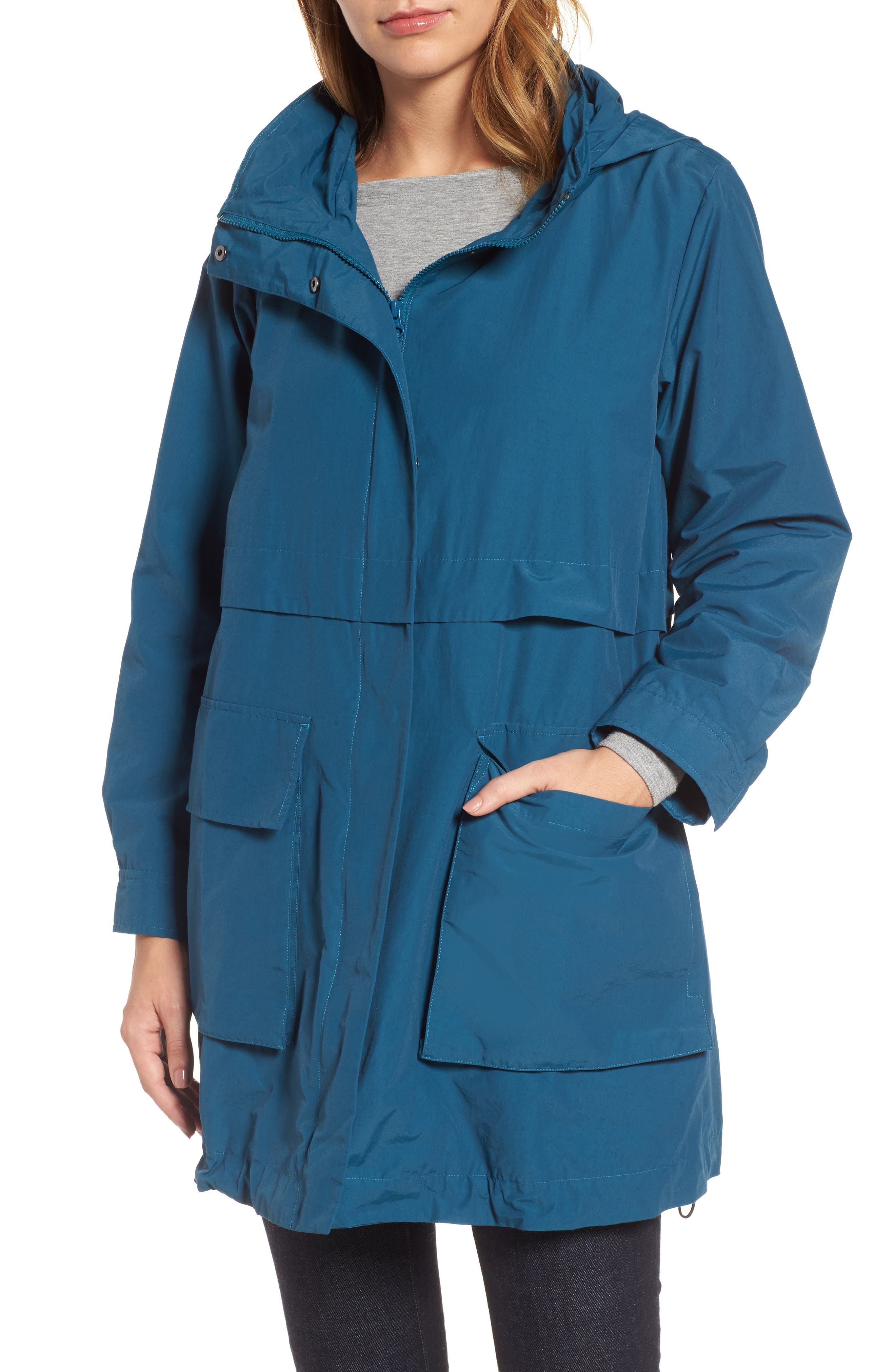Hooded Utility Jacket,                         Main,                         color, Blue Spruce