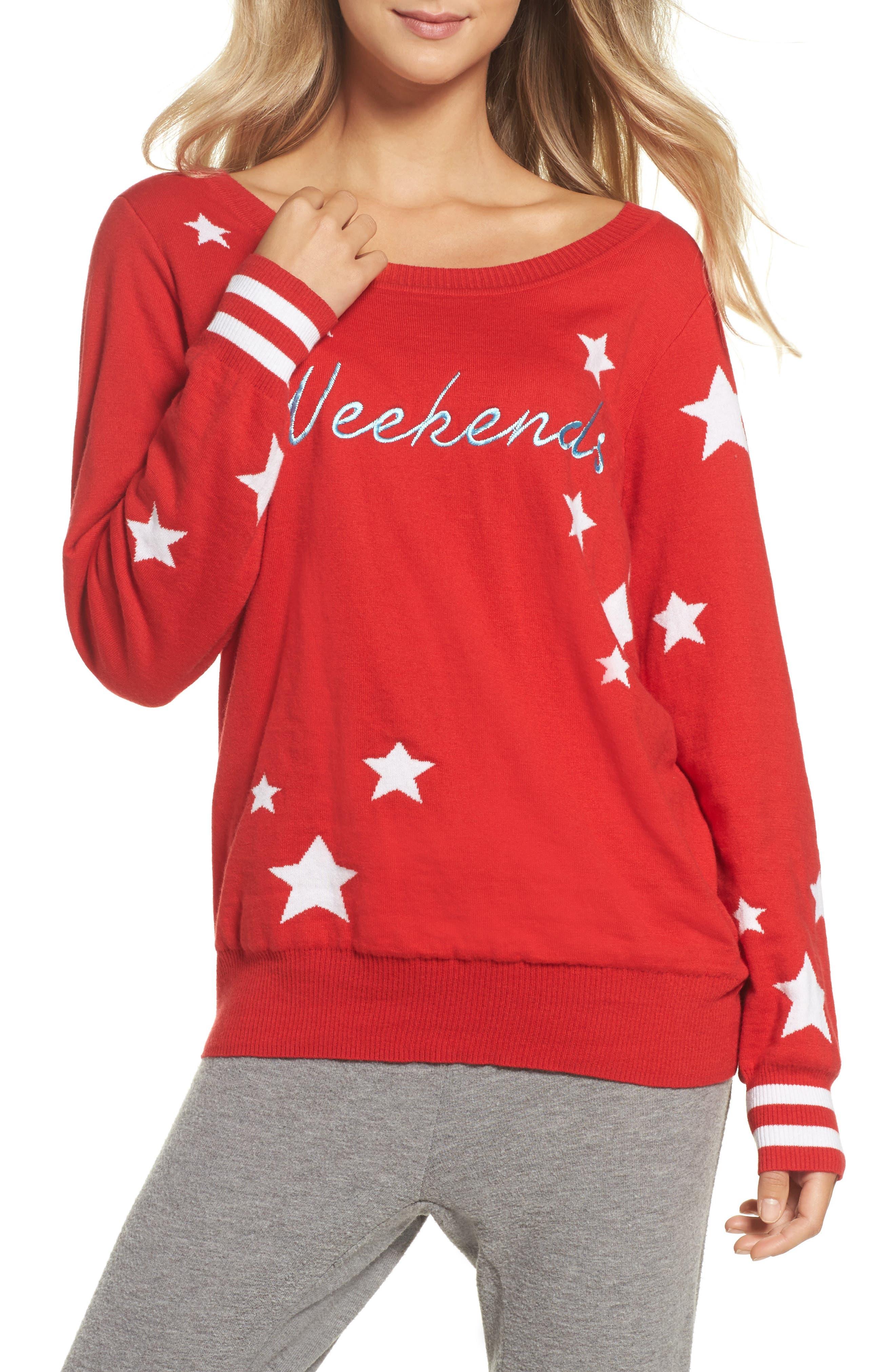 Weekends Intarsia Sweater,                             Main thumbnail 1, color,                             Cardinal