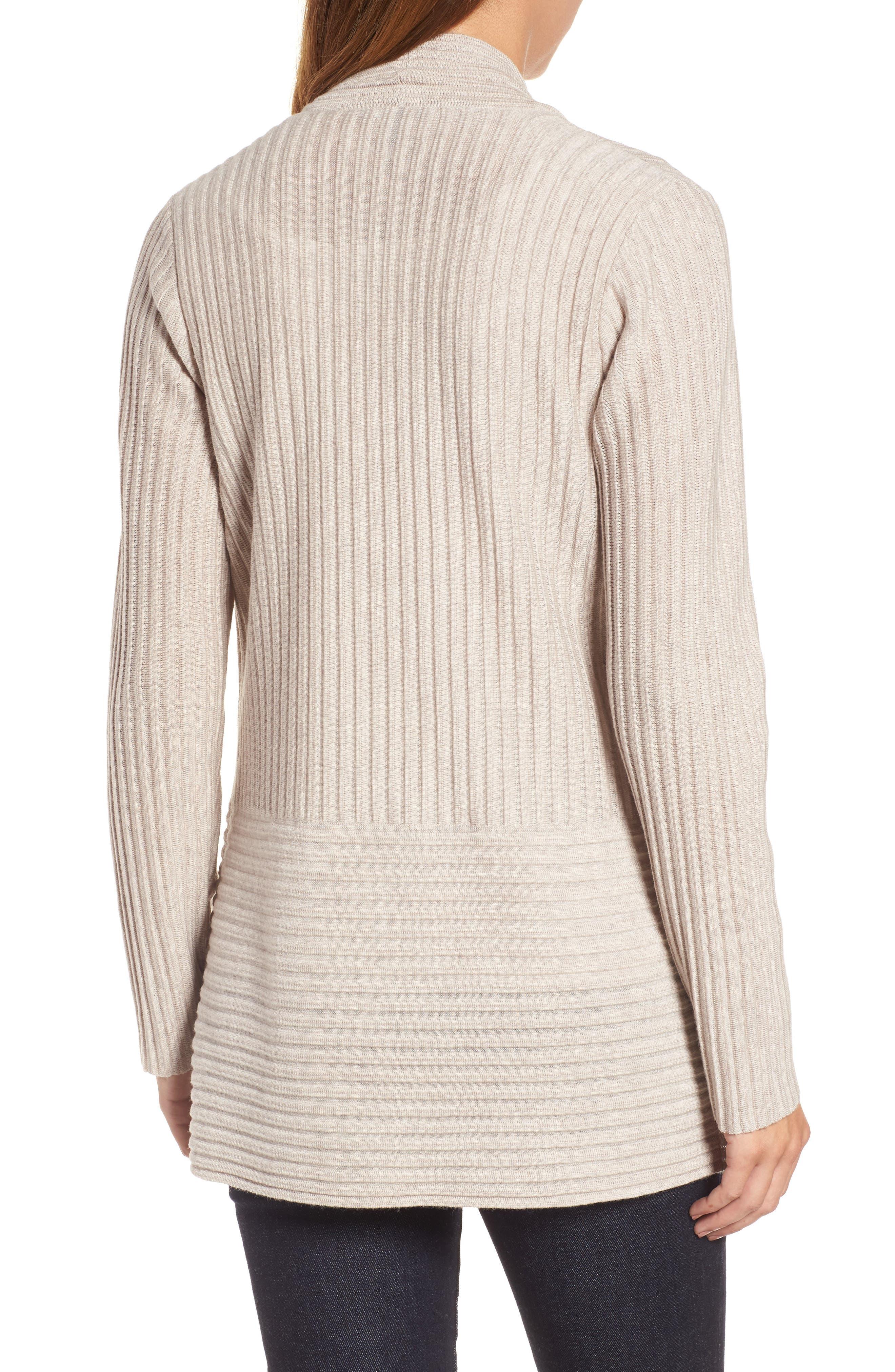 Ribbed Merino Wool Long Cardigan,                             Alternate thumbnail 2, color,                             Maple Oat
