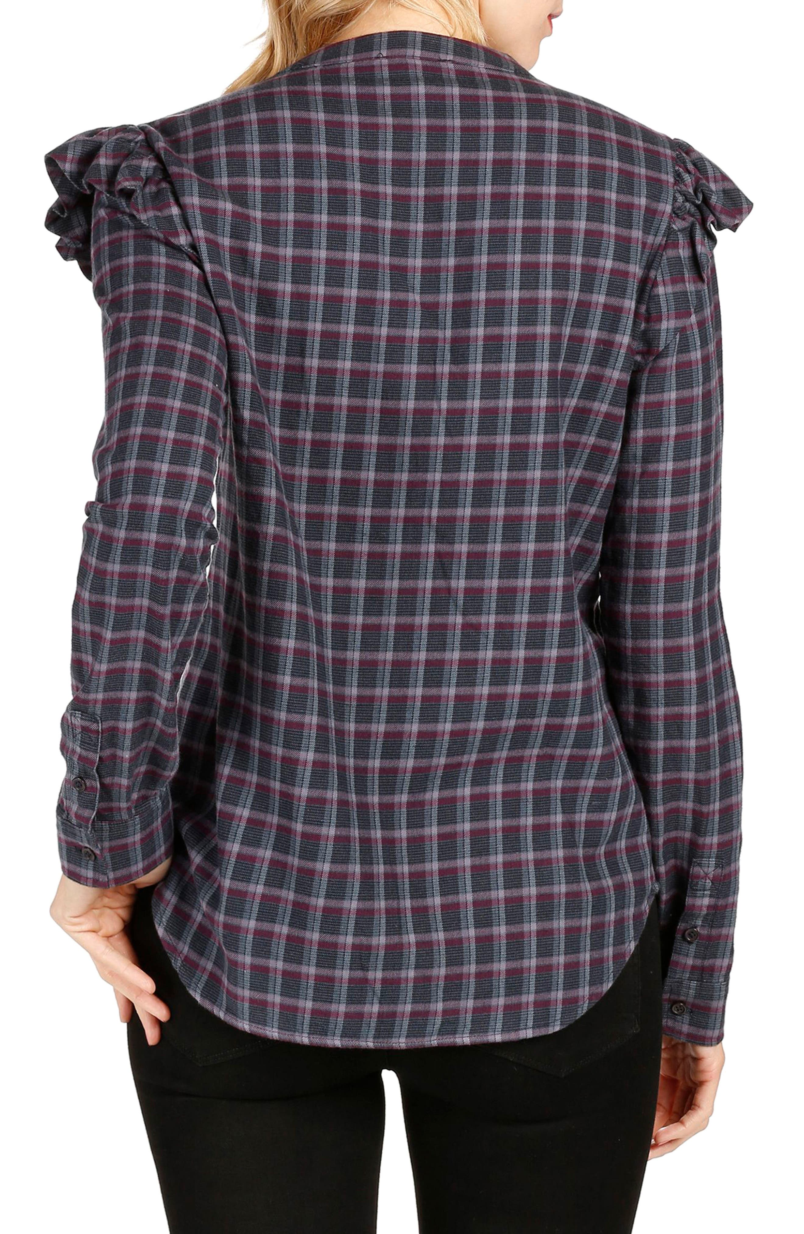 Jenelle Ruffle Plaid Shirt,                             Alternate thumbnail 3, color,                             Eclipse Multi