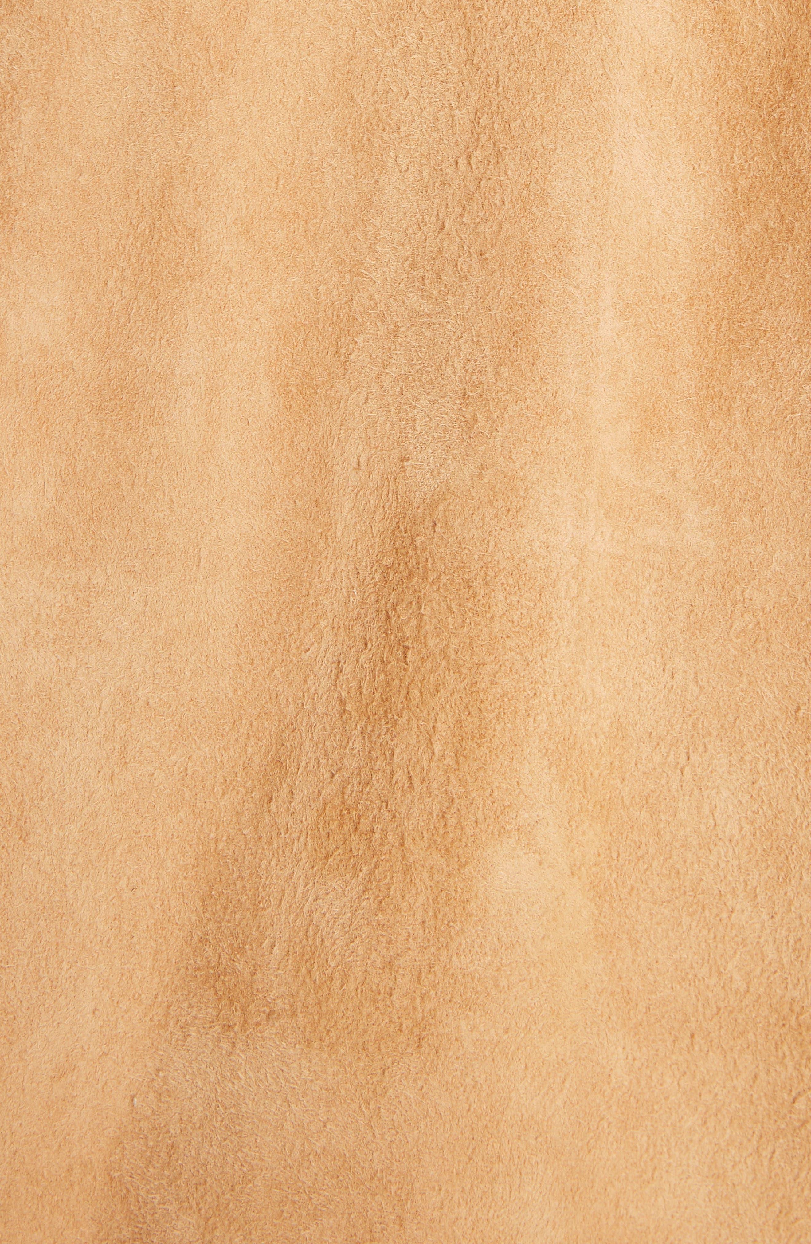 Suokki Suede Moto Jacket,                             Alternate thumbnail 6, color,                             Camel Brown