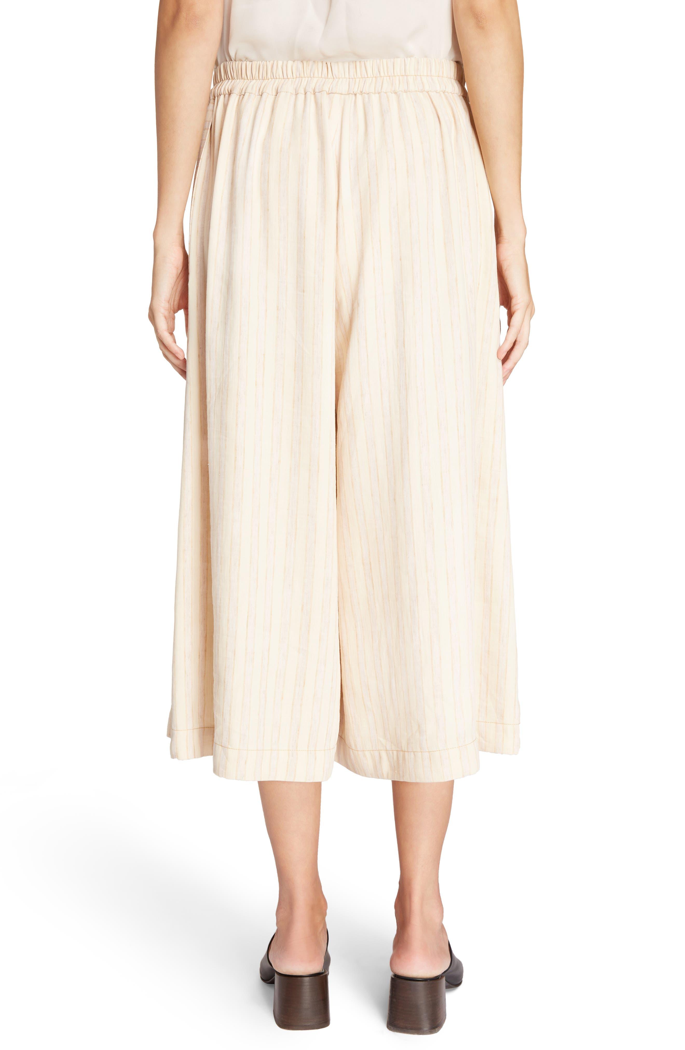 Michela Linen Blend Culottes,                             Alternate thumbnail 5, color,                             Natural/ Beige Mix