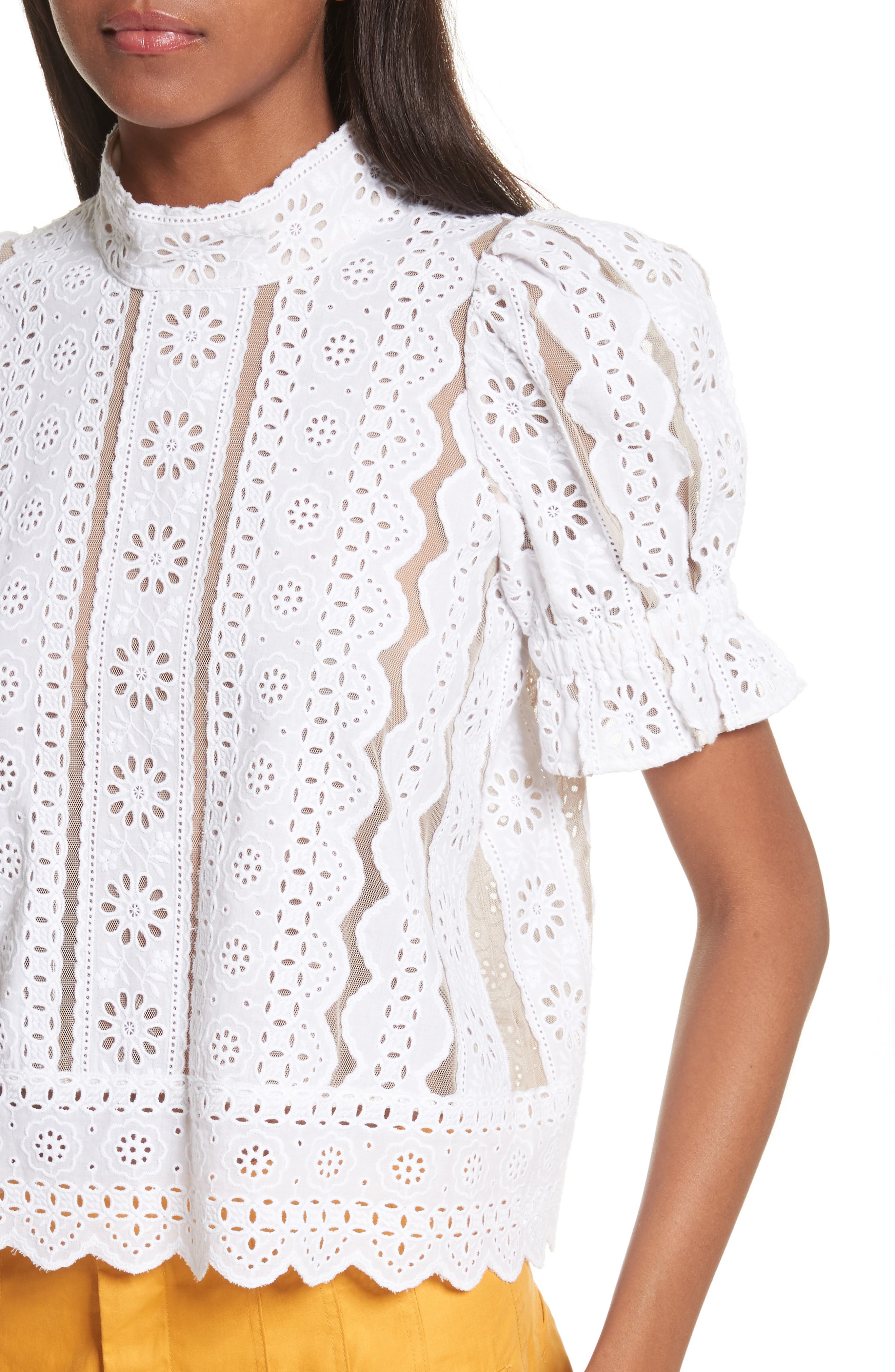 Luna Cotton Eyelet Top,                             Alternate thumbnail 5, color,                             White With Nude Mesh