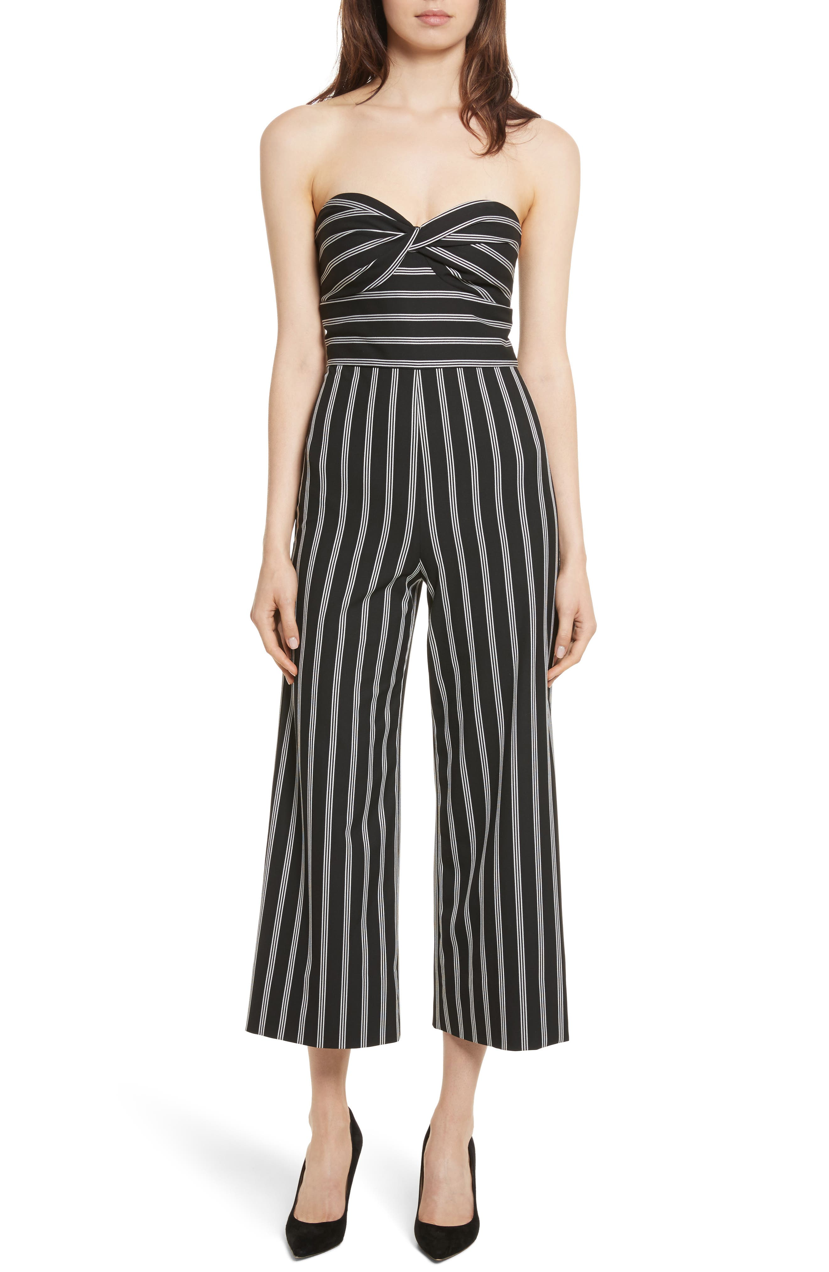 Cypress Stripe Strapless Jumpsuit,                         Main,                         color, Black/ White