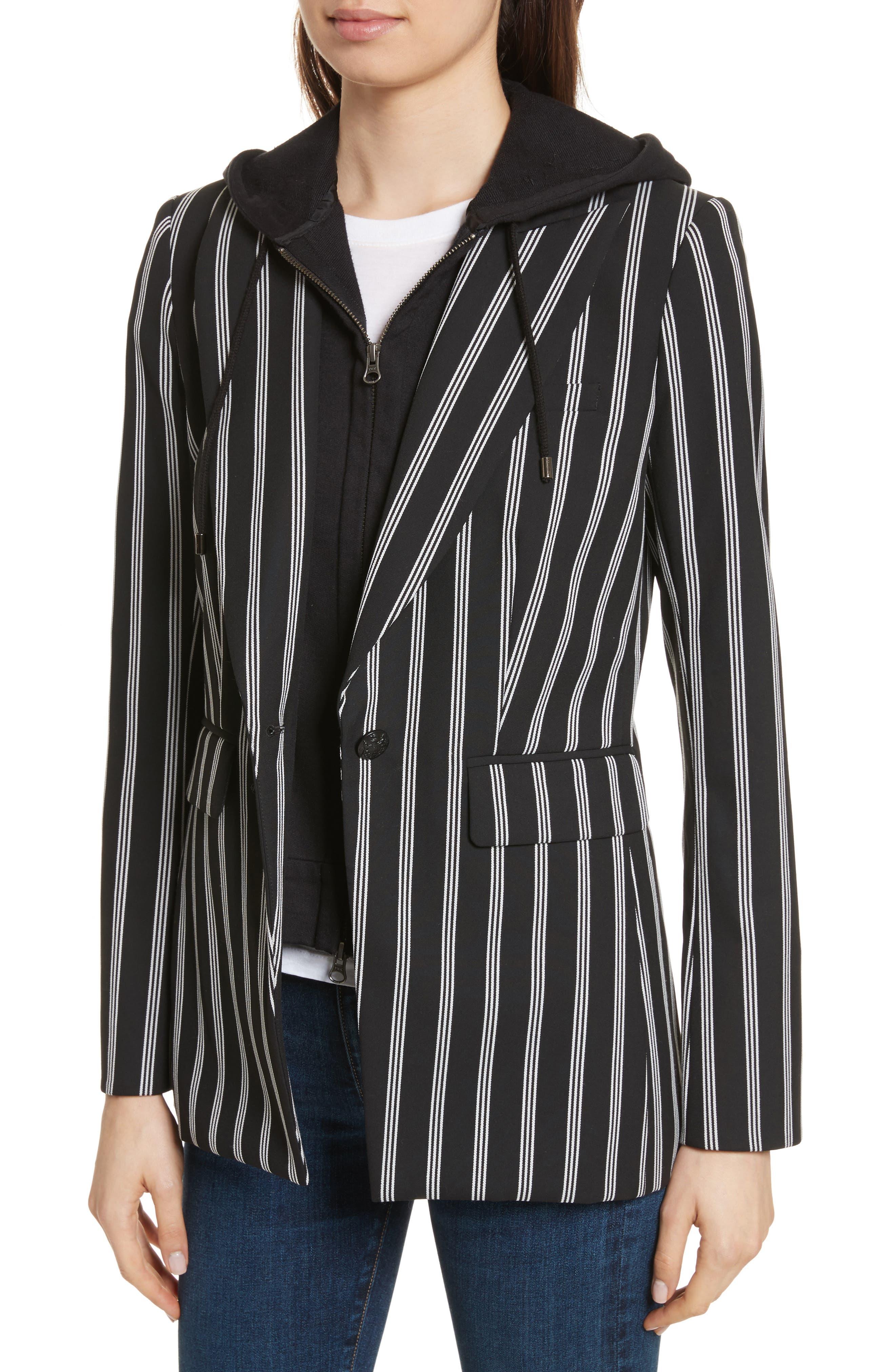 Petra Stripe Jacket,                             Alternate thumbnail 4, color,                             Black/ White