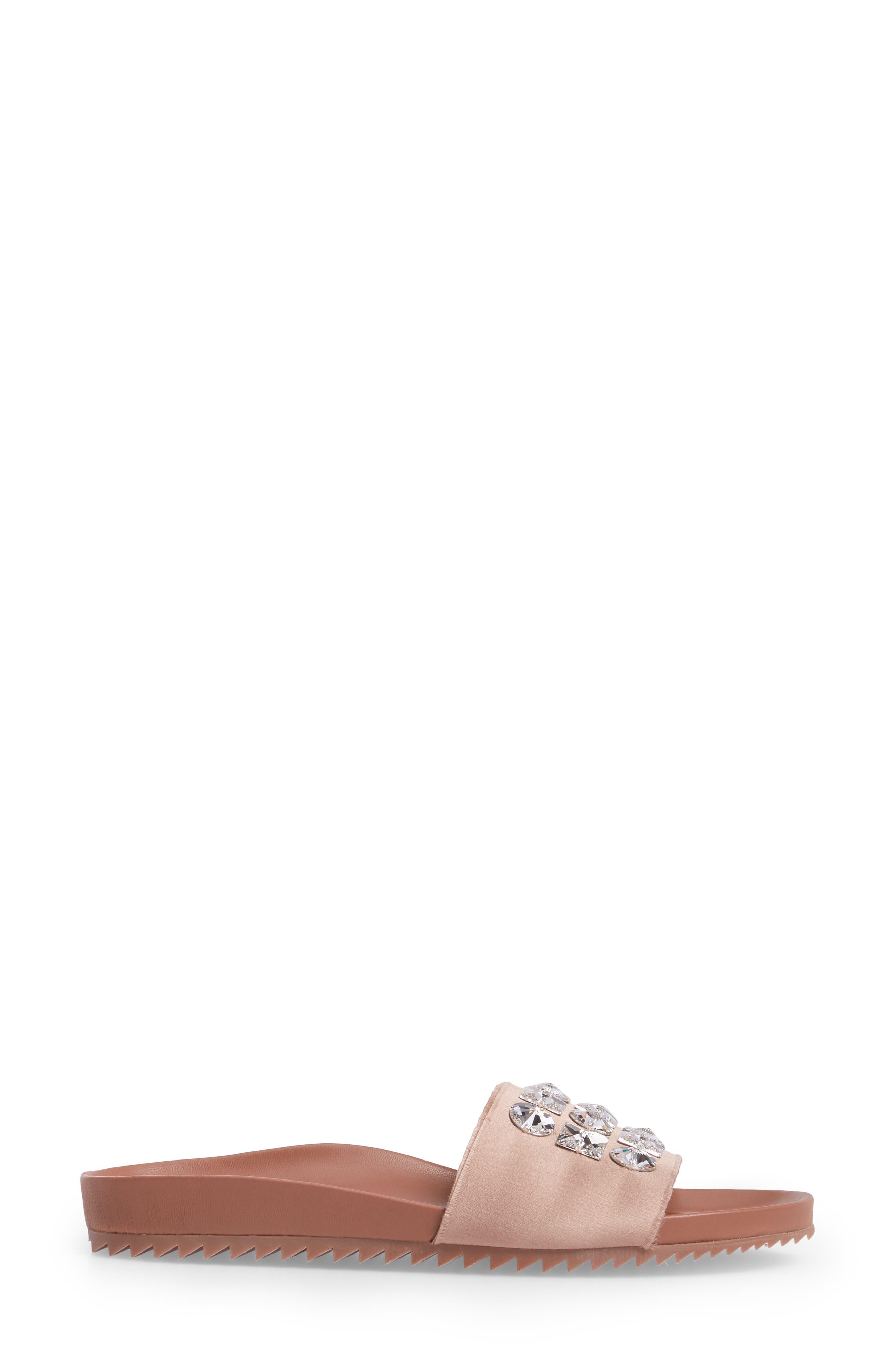 Amery Crystal Slide Sandal,                             Alternate thumbnail 3, color,                             Bisque Satin