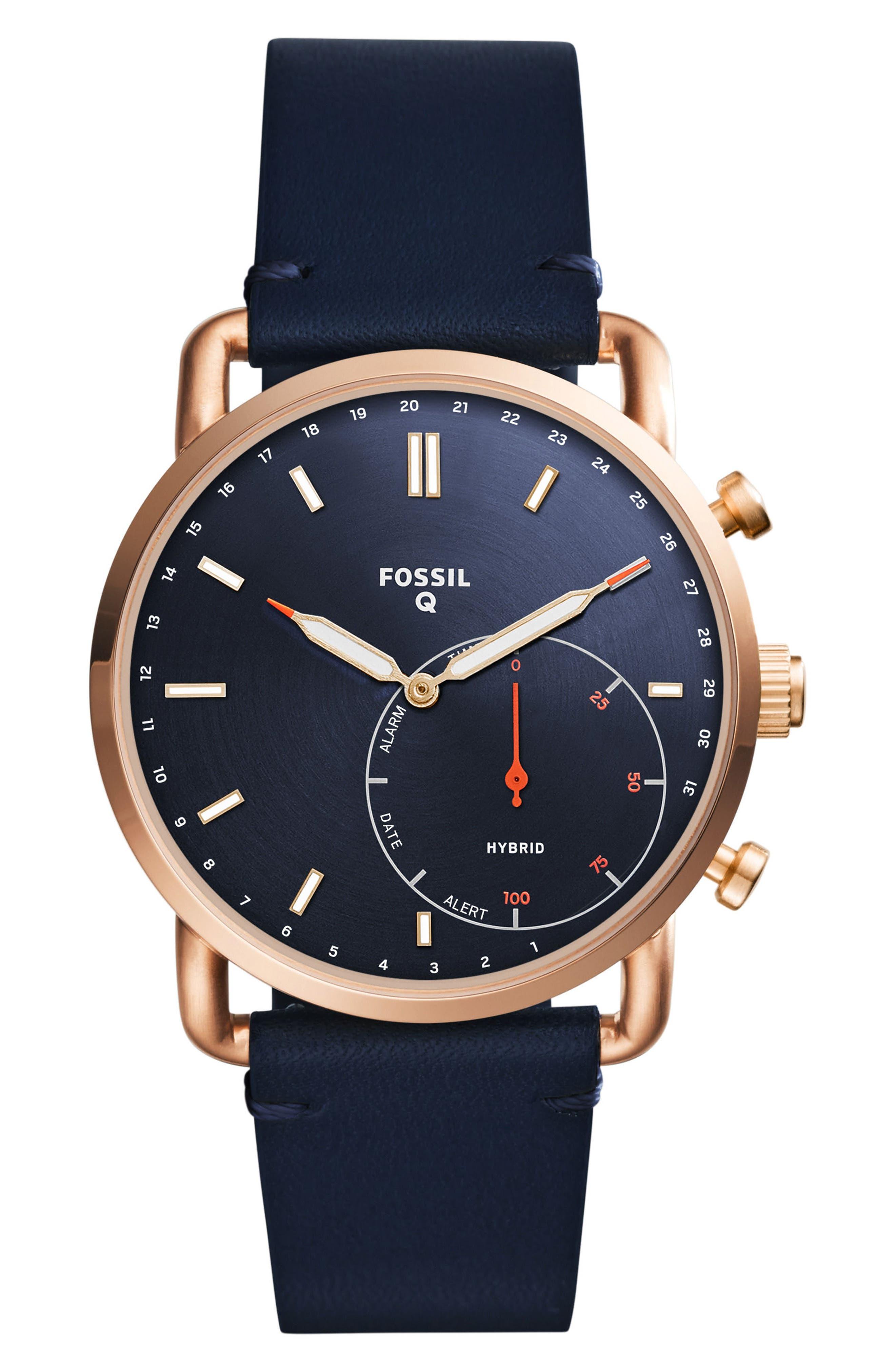 Commuter Leather Strap Hybrid Smart Watch, 42mm,                         Main,                         color, Blue/ Rose Gold