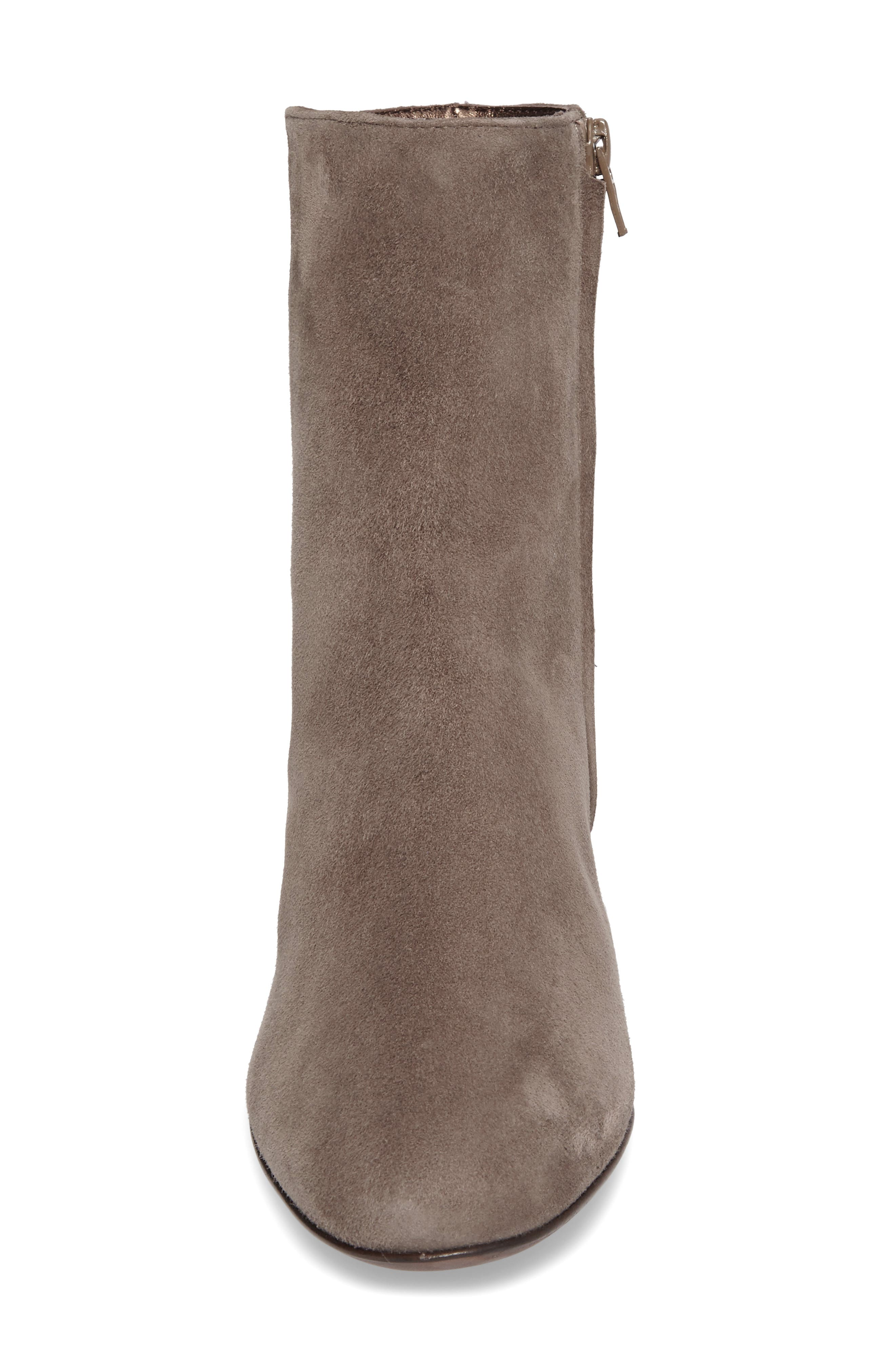Block Heel Stretch Bootie,                             Alternate thumbnail 4, color,                             Pewter Suede