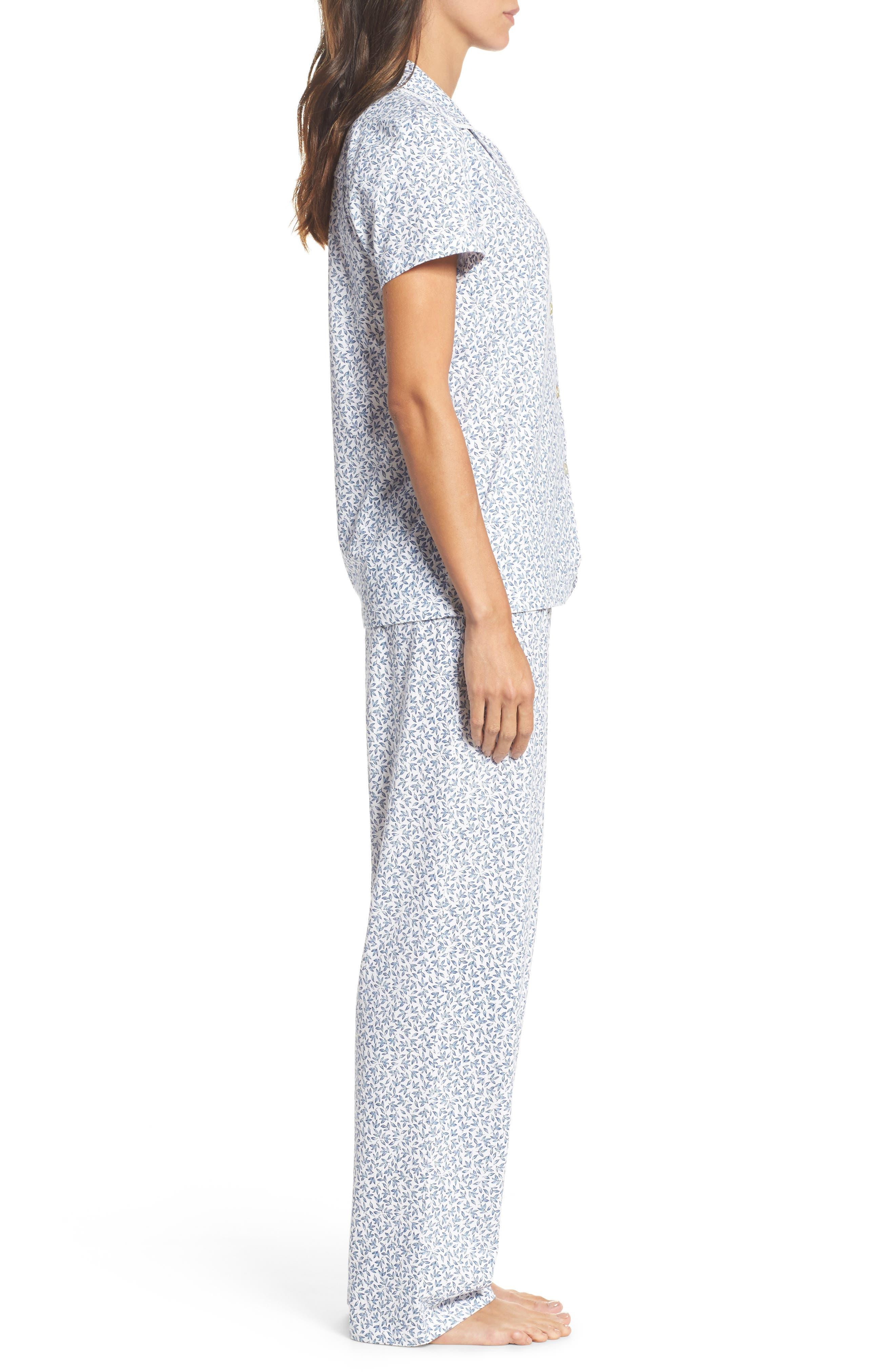 Print Jersey Pajamas,                             Alternate thumbnail 3, color,                             Leaf